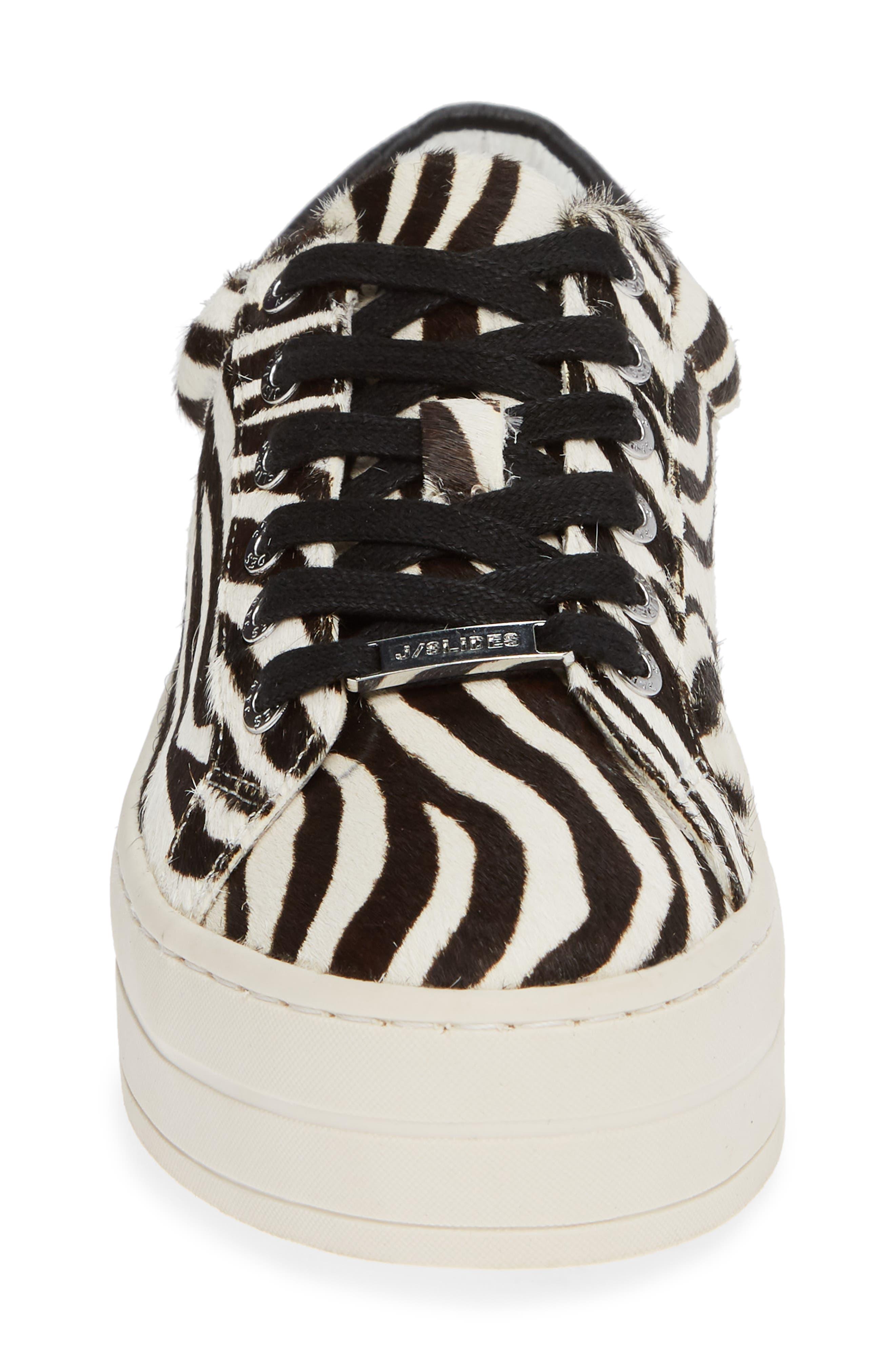 JSLIDES,                             Hippie Genuine Calf Hair Platform Sneaker,                             Alternate thumbnail 4, color,                             ZEBRA CALF HAIR