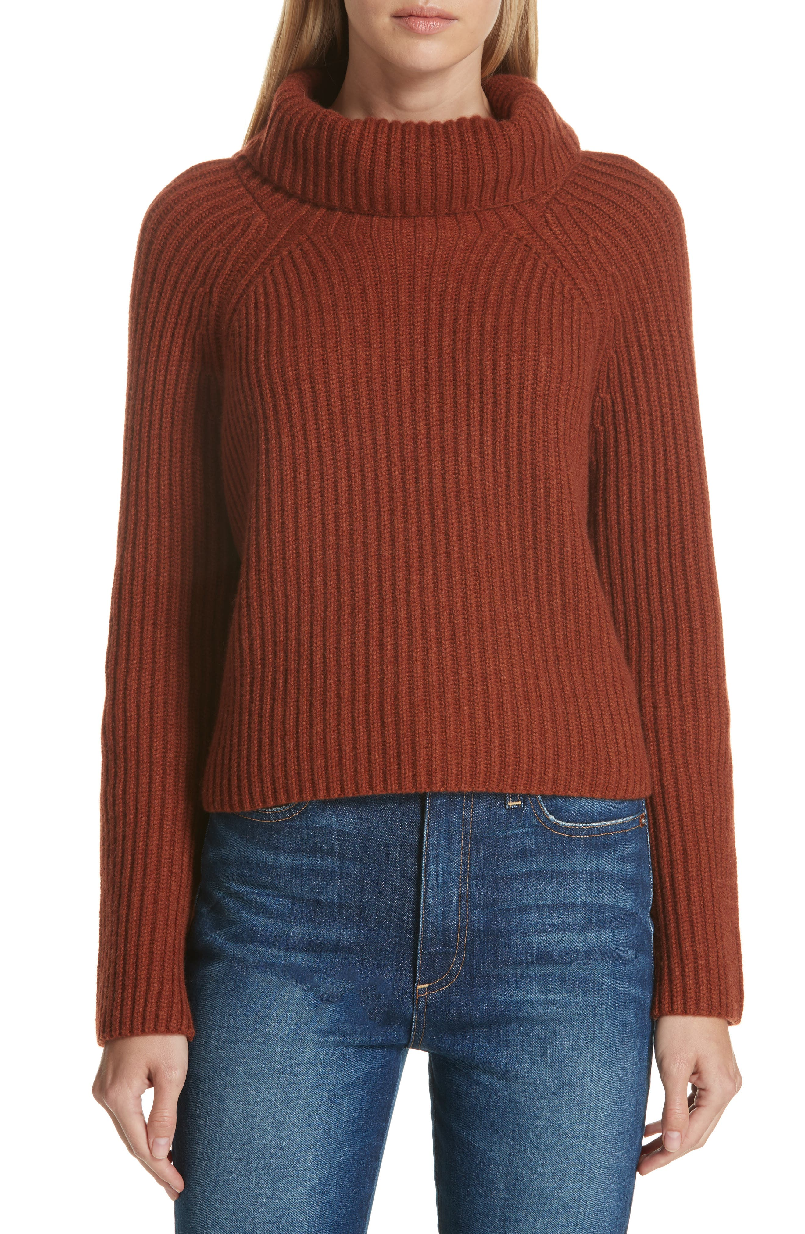 Ribbed Cashmere Turtleneck Sweater,                             Main thumbnail 1, color,                             221