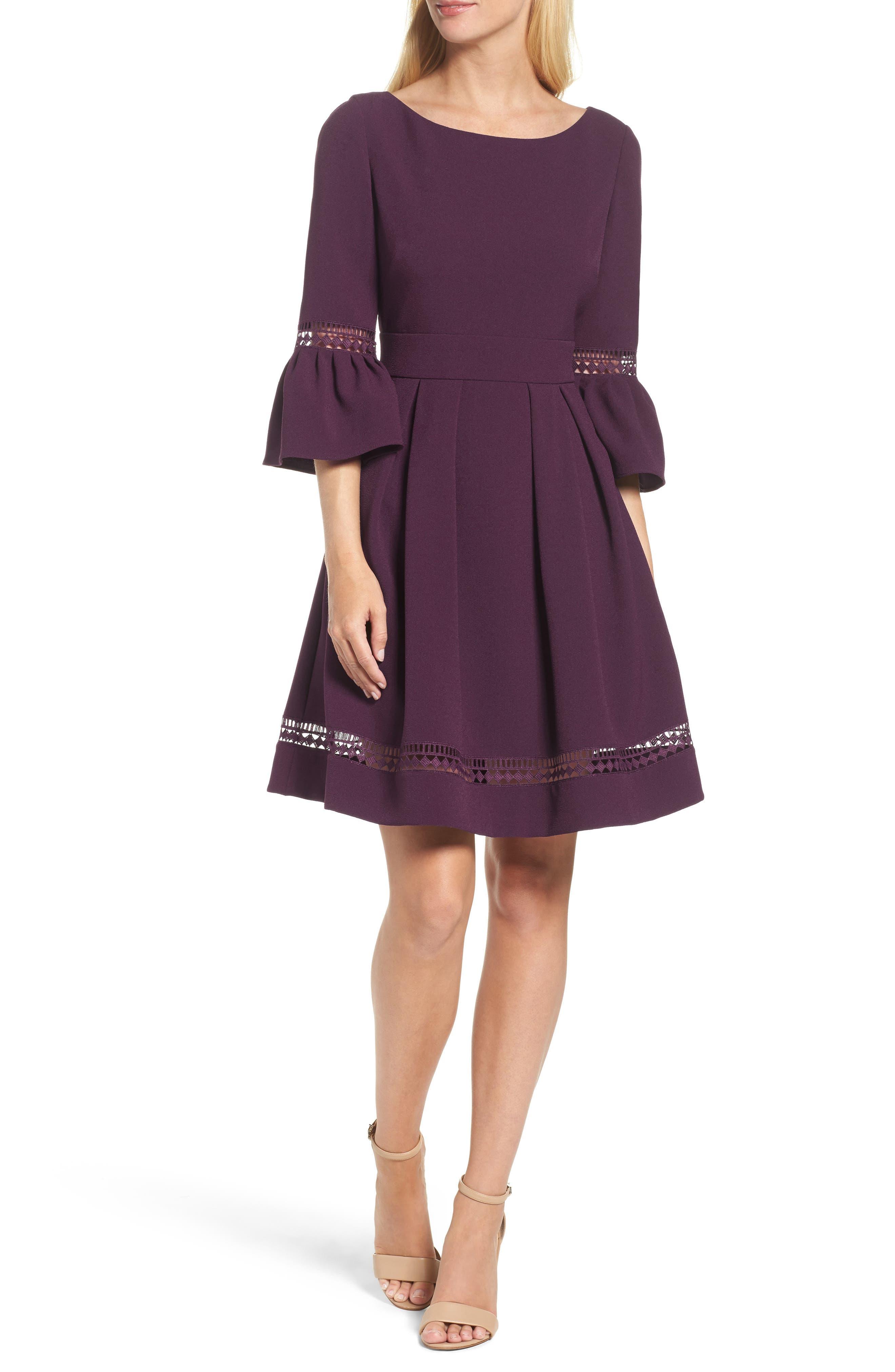 Eliza J Bell Sleeve Fit & Flare Dress, Purple