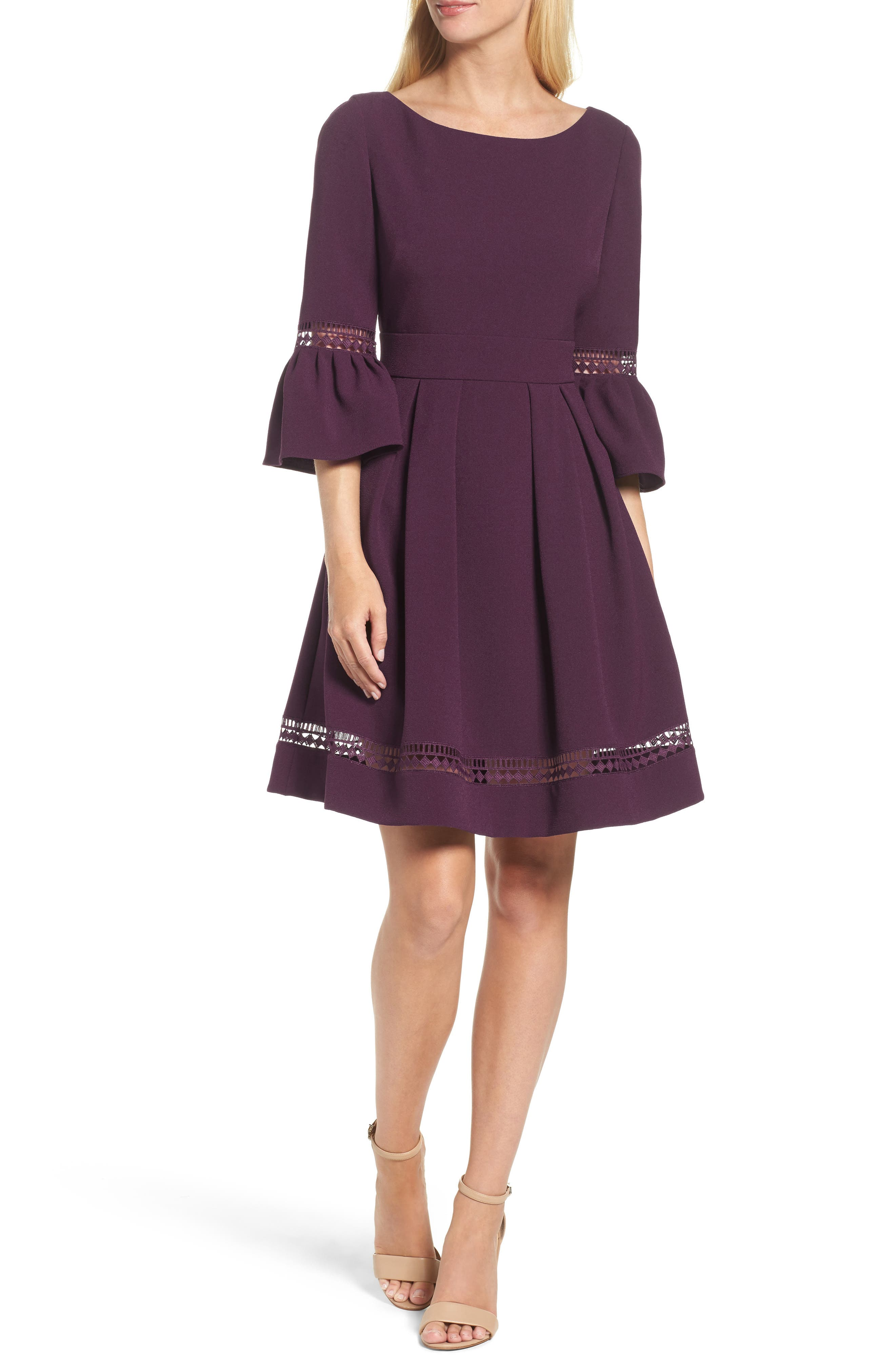 Petite Eliza J Bell Sleeve Fit & Flare Dress, Purple