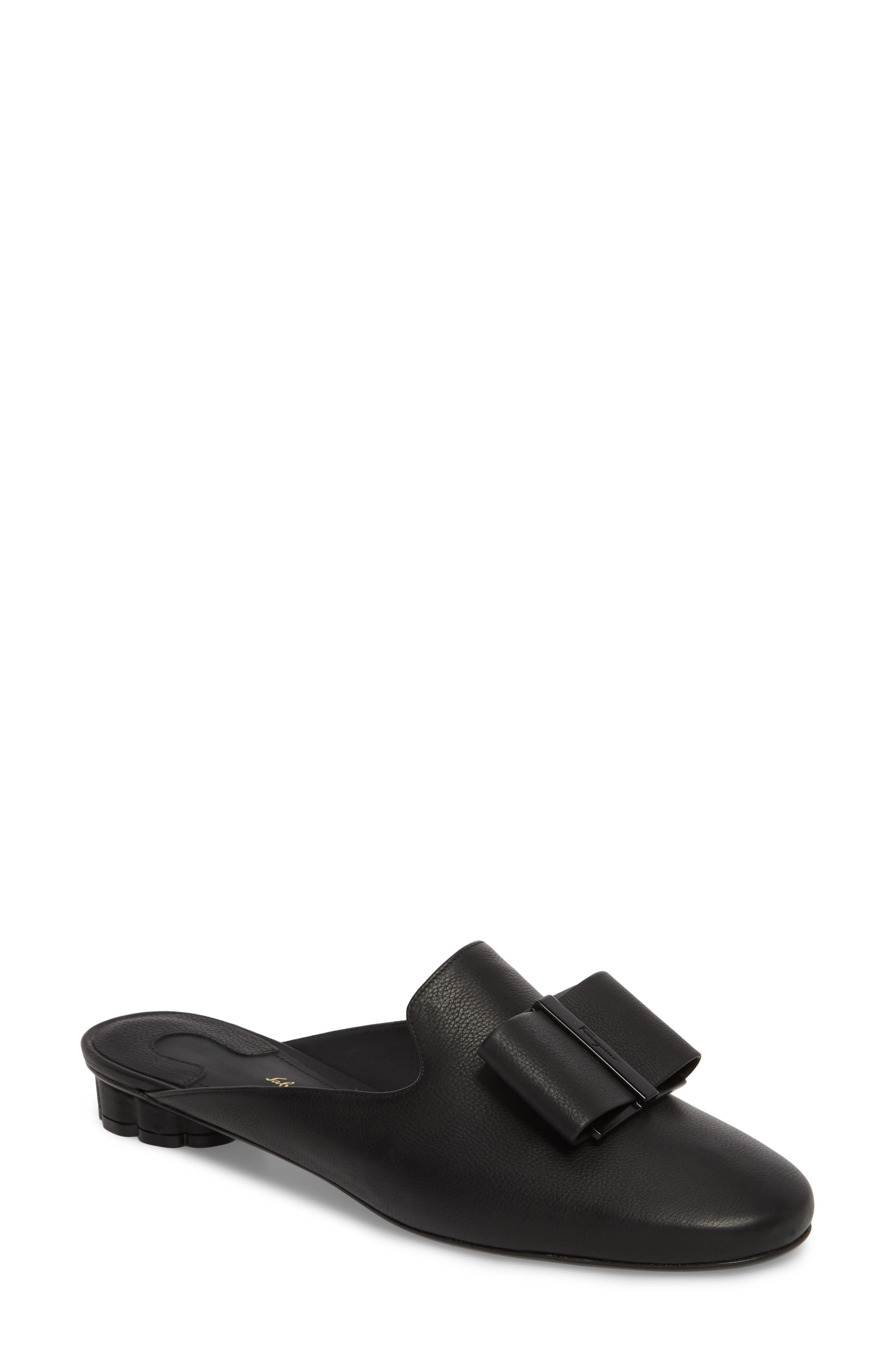 Sciacca Bow Loafer Mule,                         Main,                         color, BLACK