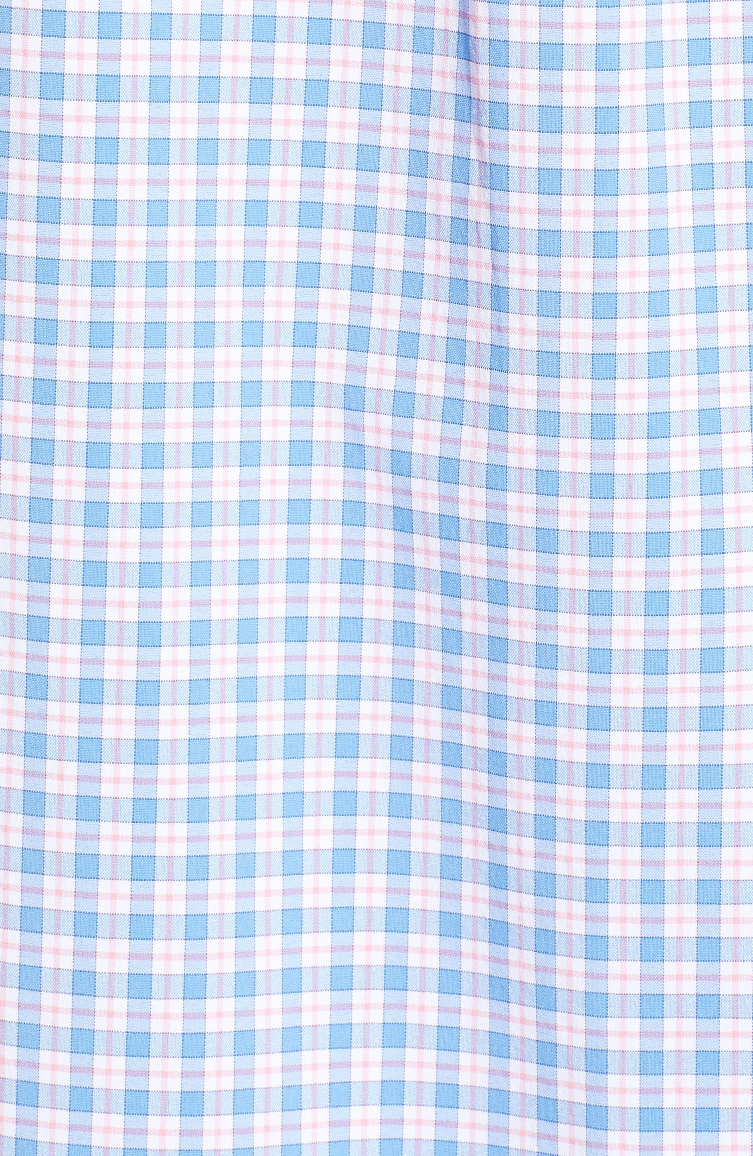 Oyster Pond Slim Fit Plaid Sport Shirt,                             Alternate thumbnail 5, color,                             OCEAN BREEZE