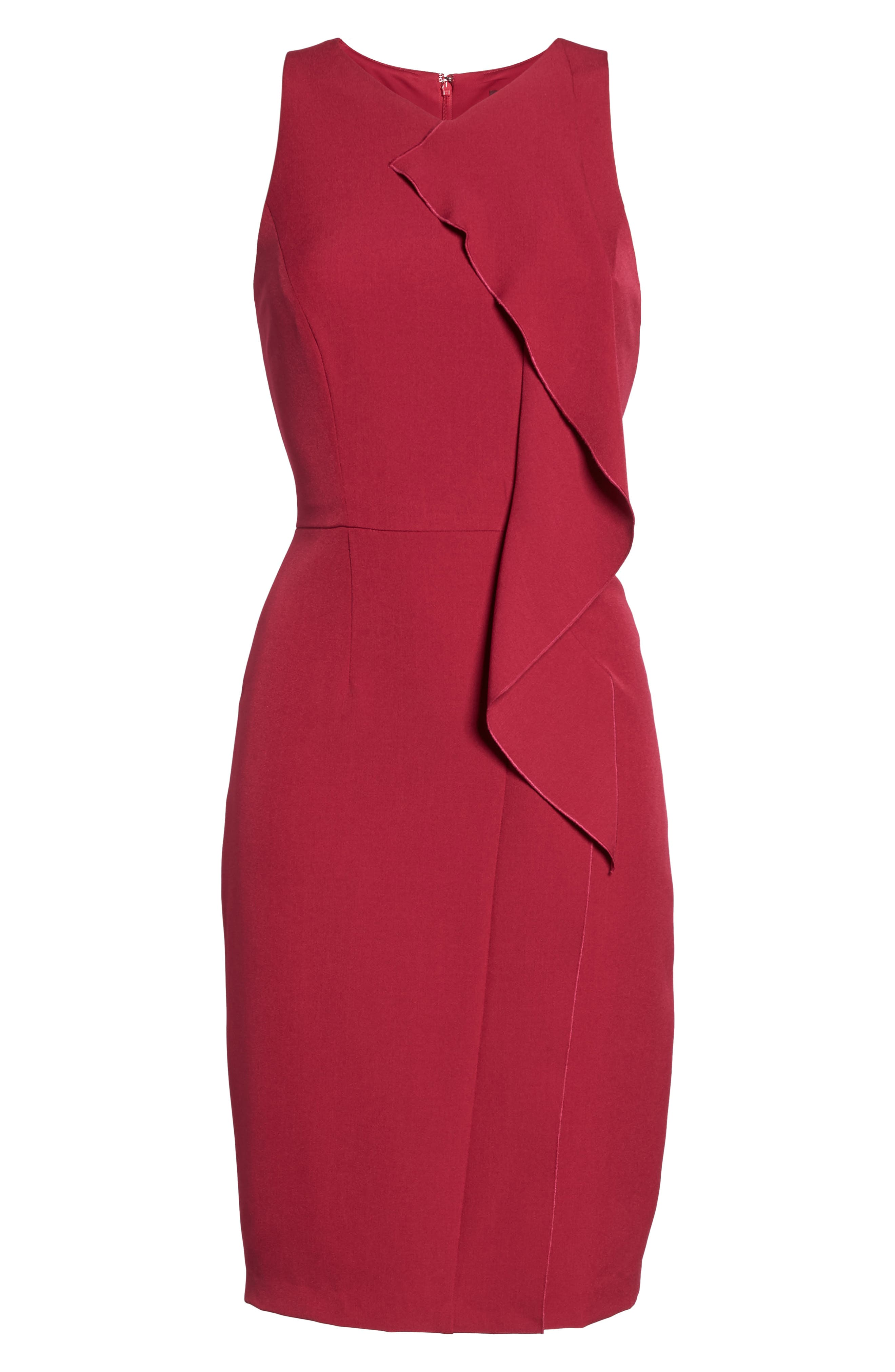 Stretch Crepe V-Neck Sheath,                             Alternate thumbnail 6, color,                             652