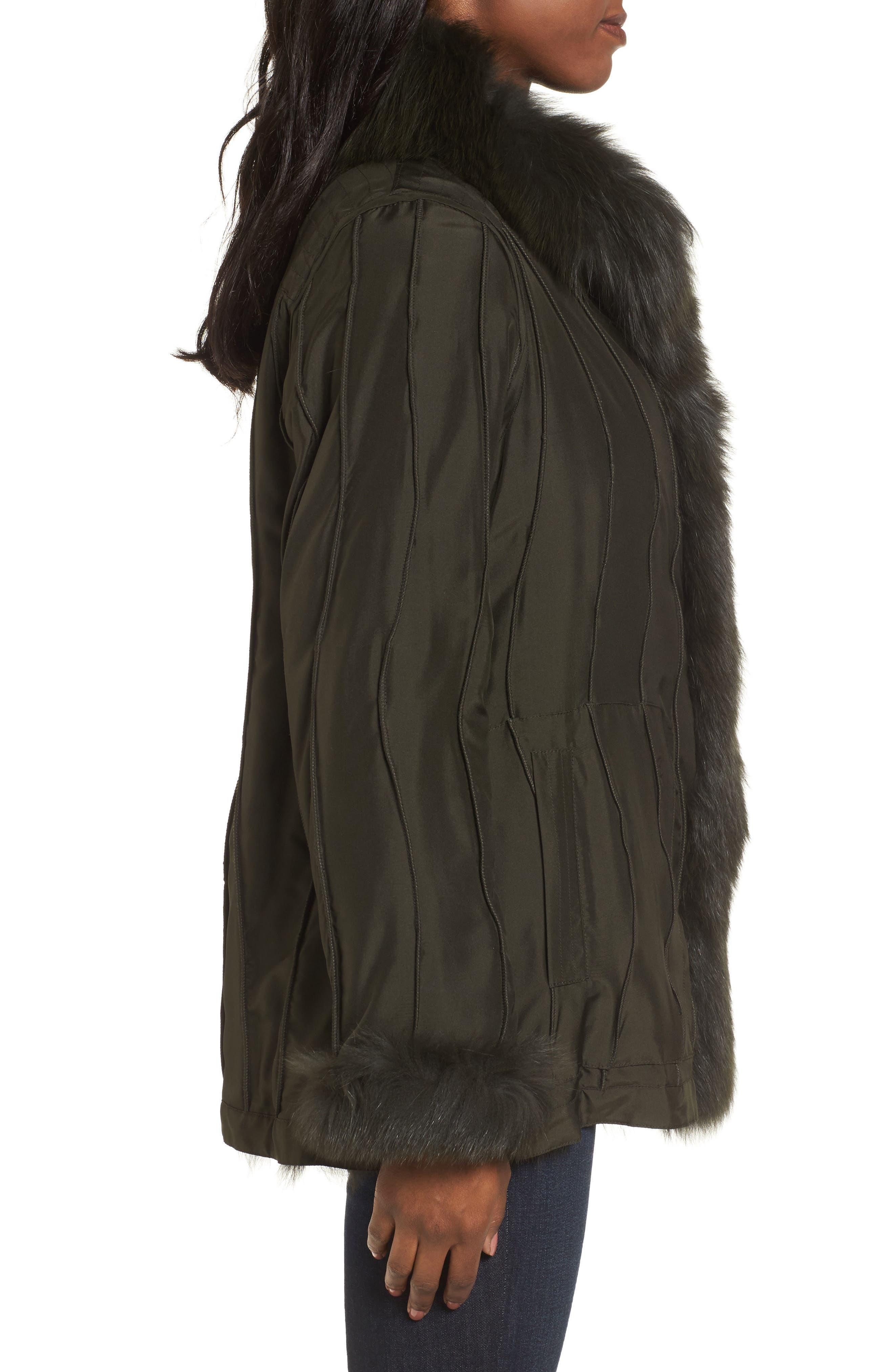 GeorgeSimonton Reversible Silk & Genuine Fox Fur Topper,                             Alternate thumbnail 11, color,