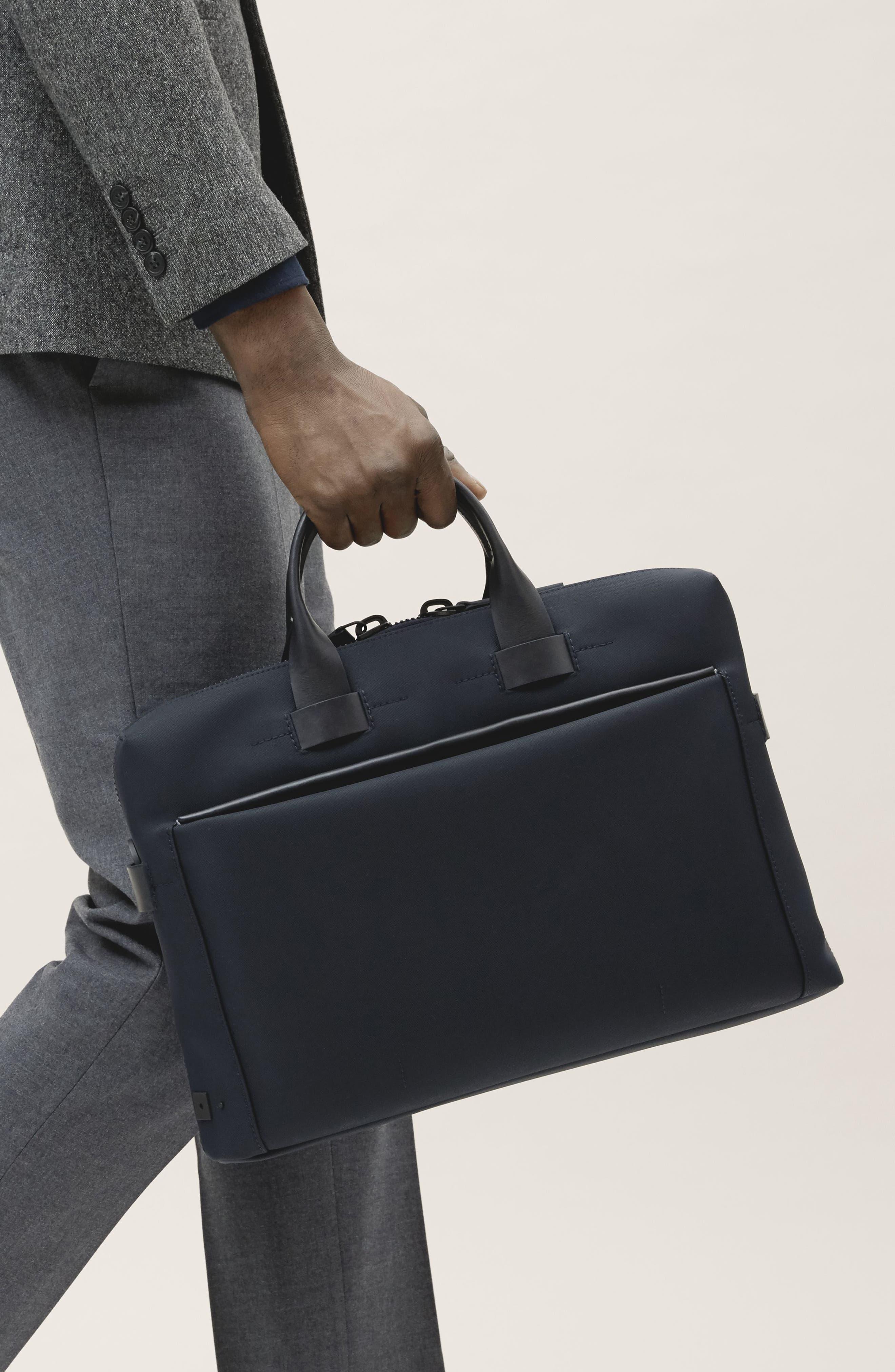 Slim Briefcase,                             Alternate thumbnail 2, color,                             NAVY NYLON/ NAVY LEATHER