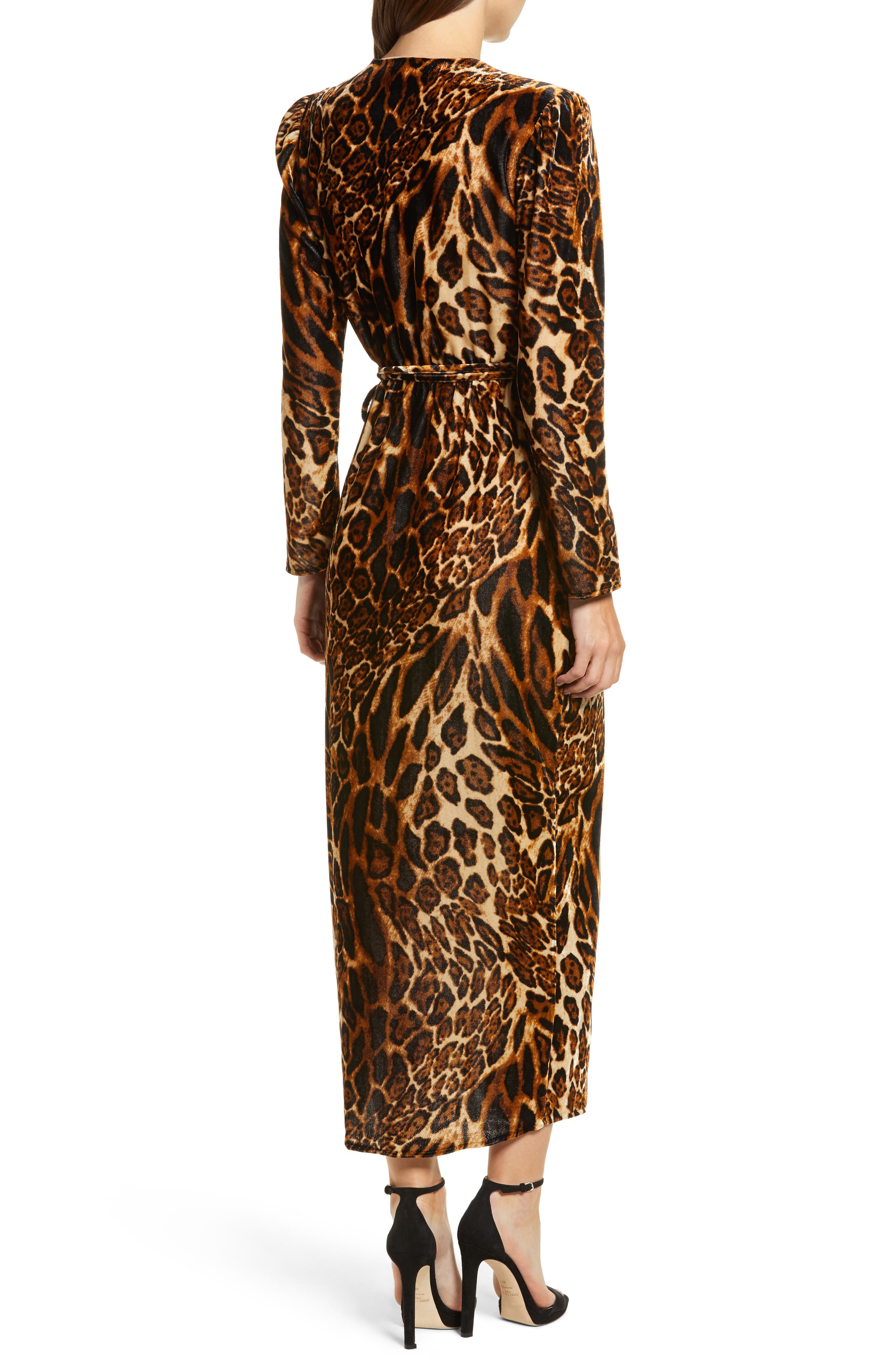 Gwyneth Velvet Wrap Midi Dress,                             Alternate thumbnail 2, color,                             LEOPARD