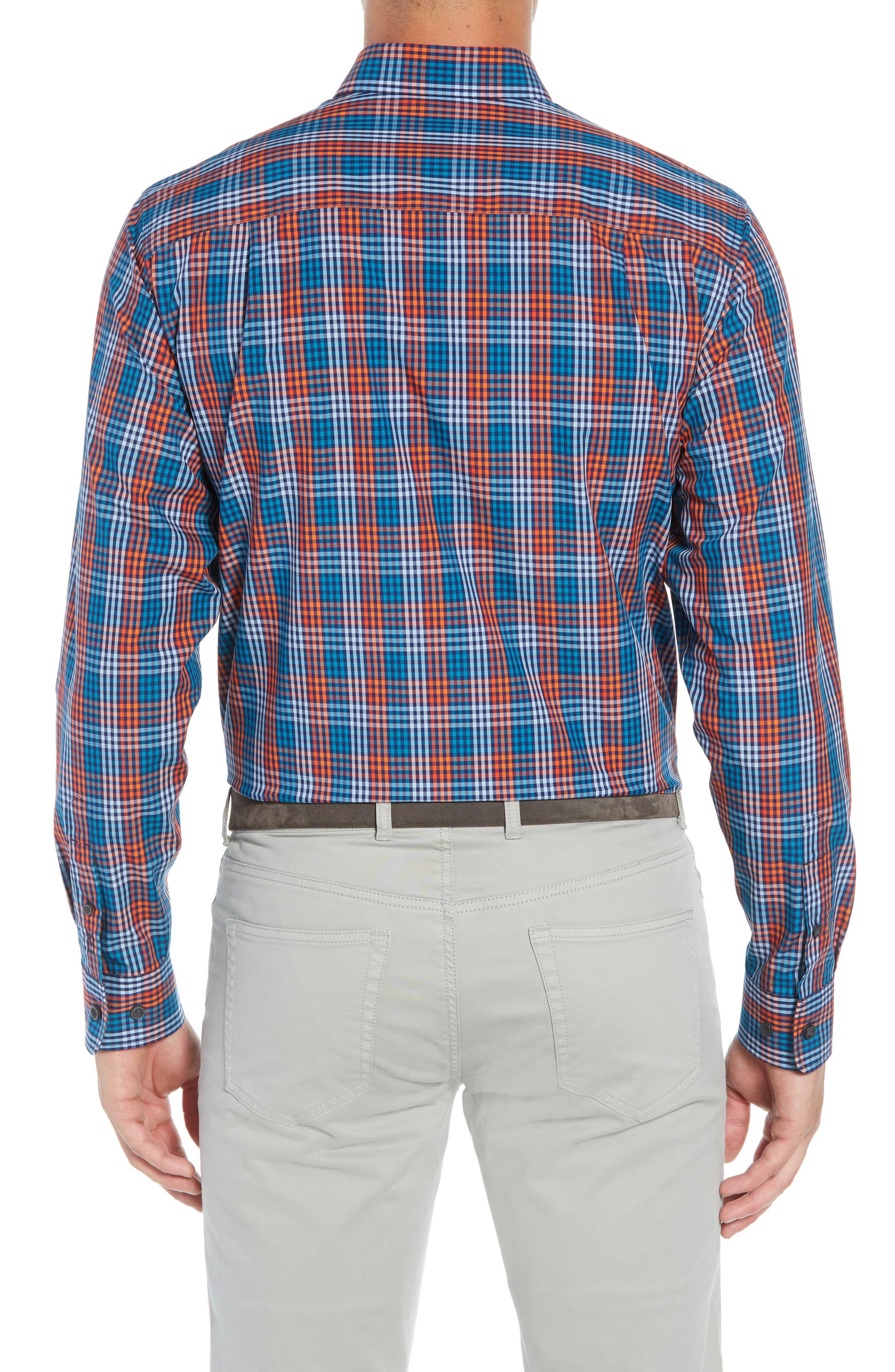 Sutton Regular Fit Non-Iron Check Sport Shirt,                             Alternate thumbnail 3, color,                             ALARM