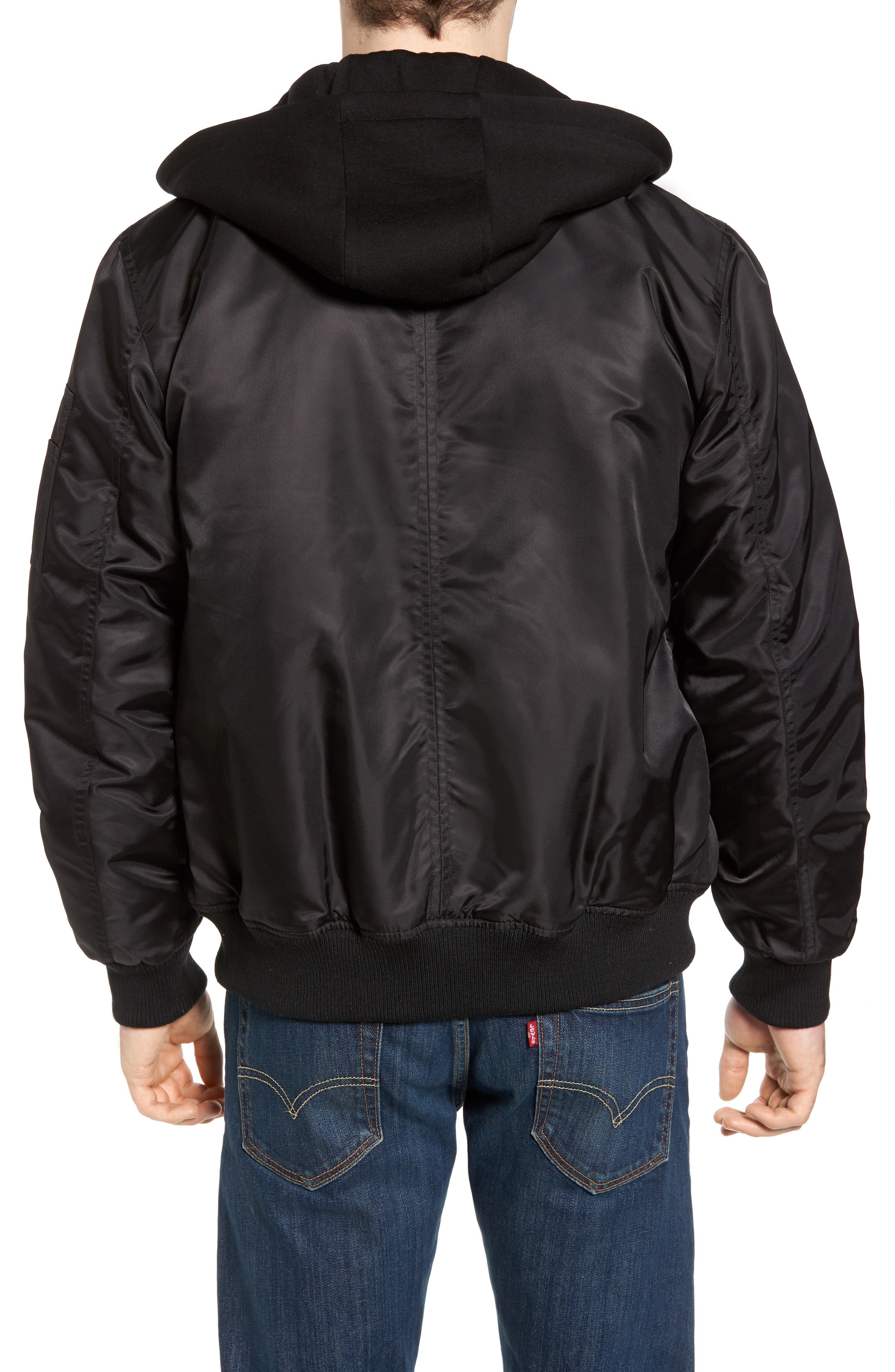 Water Resistant Hooded Satin Flight Jacket,                             Alternate thumbnail 3, color,