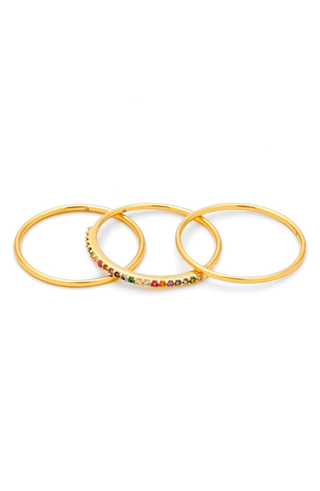 Shimmer Stackable Set of 3 Band Rings,                             Main thumbnail 2, color,