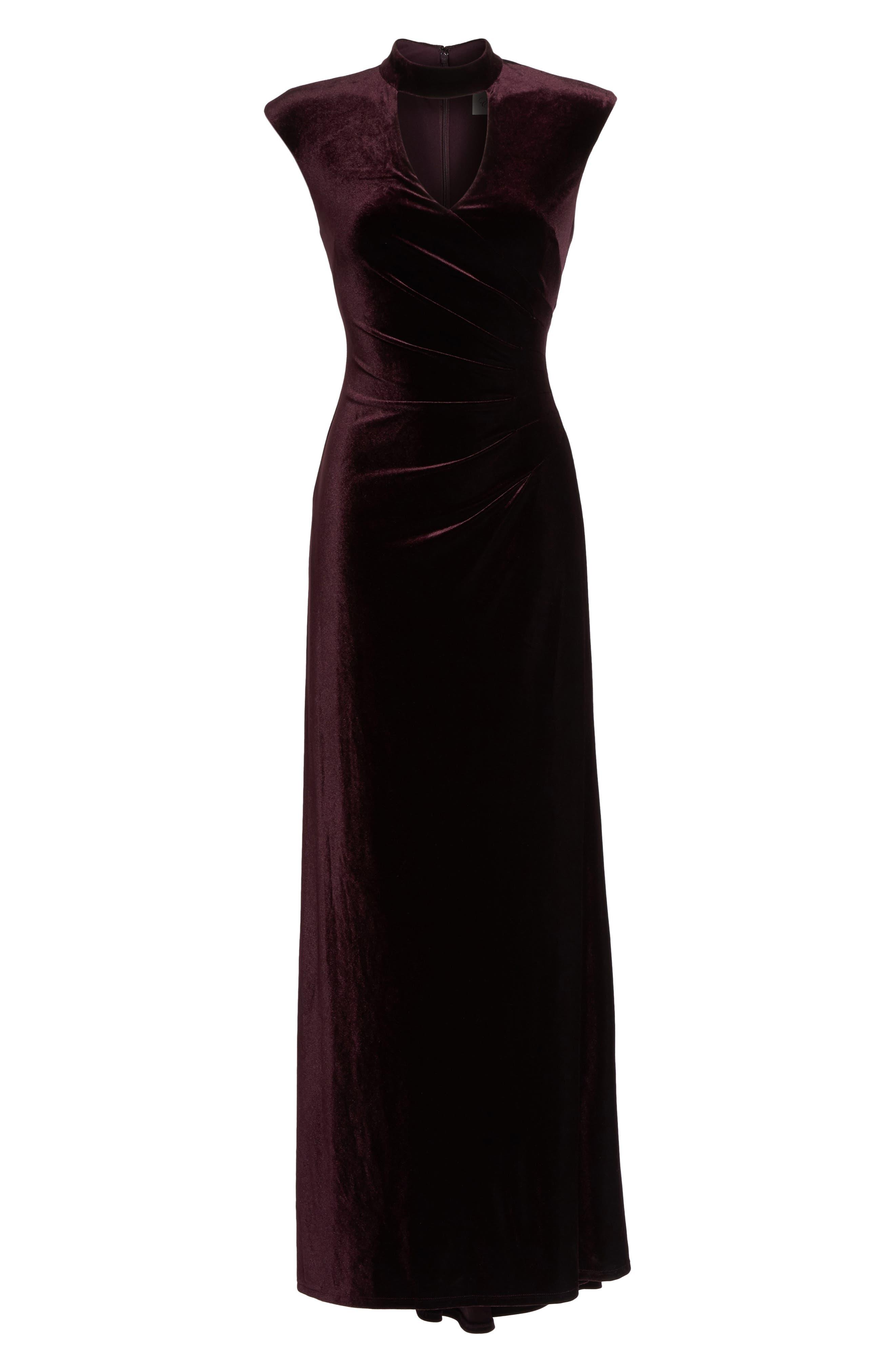 Side Pleated Velvet Choker Gown,                             Alternate thumbnail 6, color,                             507