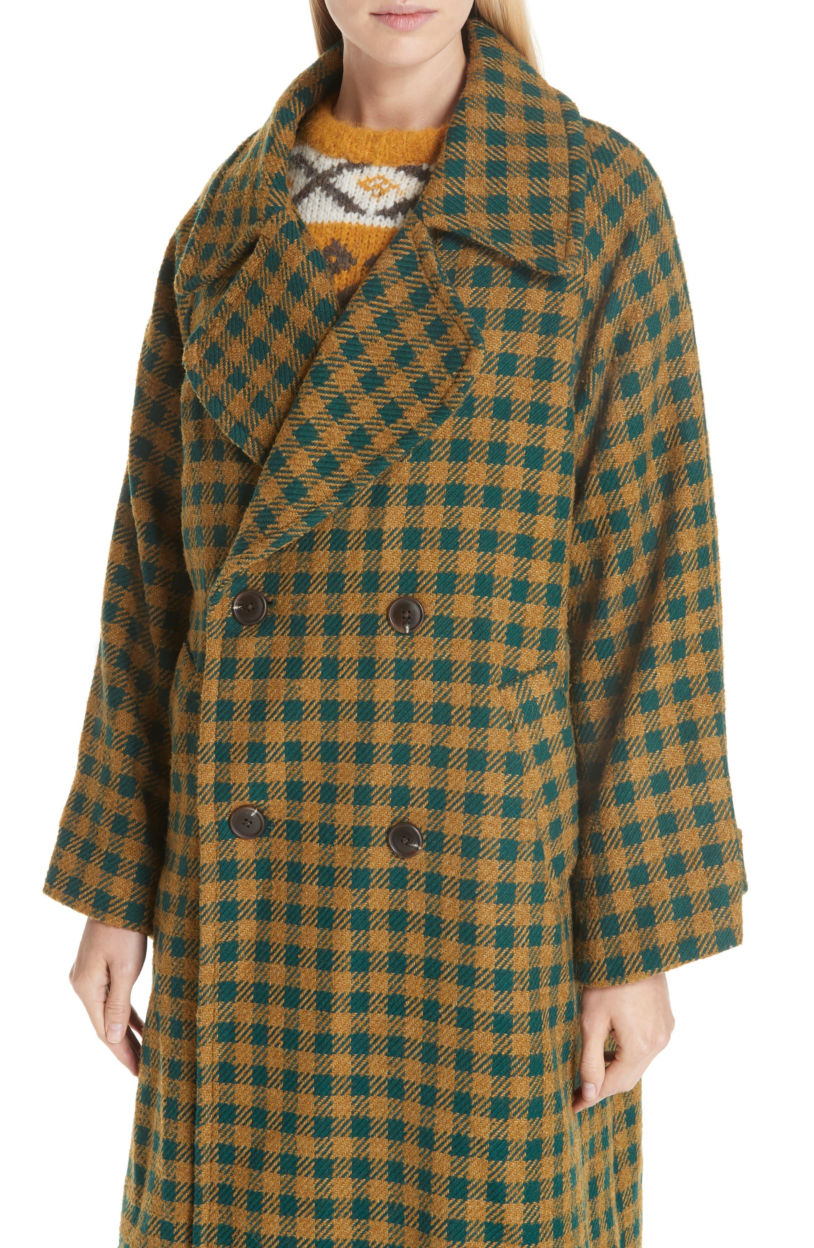 Ethno Pop Check Boyfriend Coat,                             Alternate thumbnail 4, color,                             GREEN CHECK