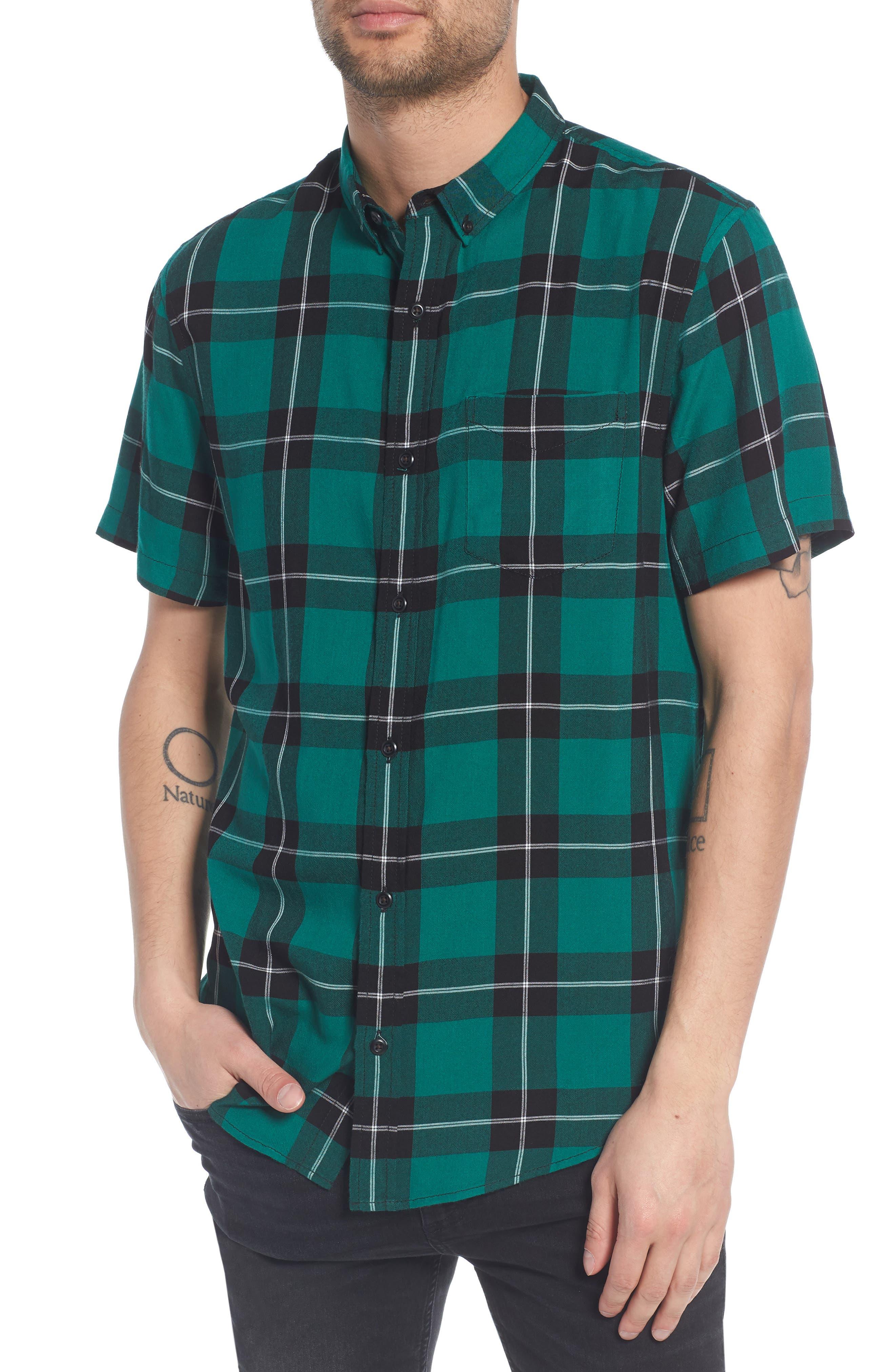 Yarn Dyed Plaid Shirt,                             Main thumbnail 1, color,                             BLACK GREEN LIV PLAID