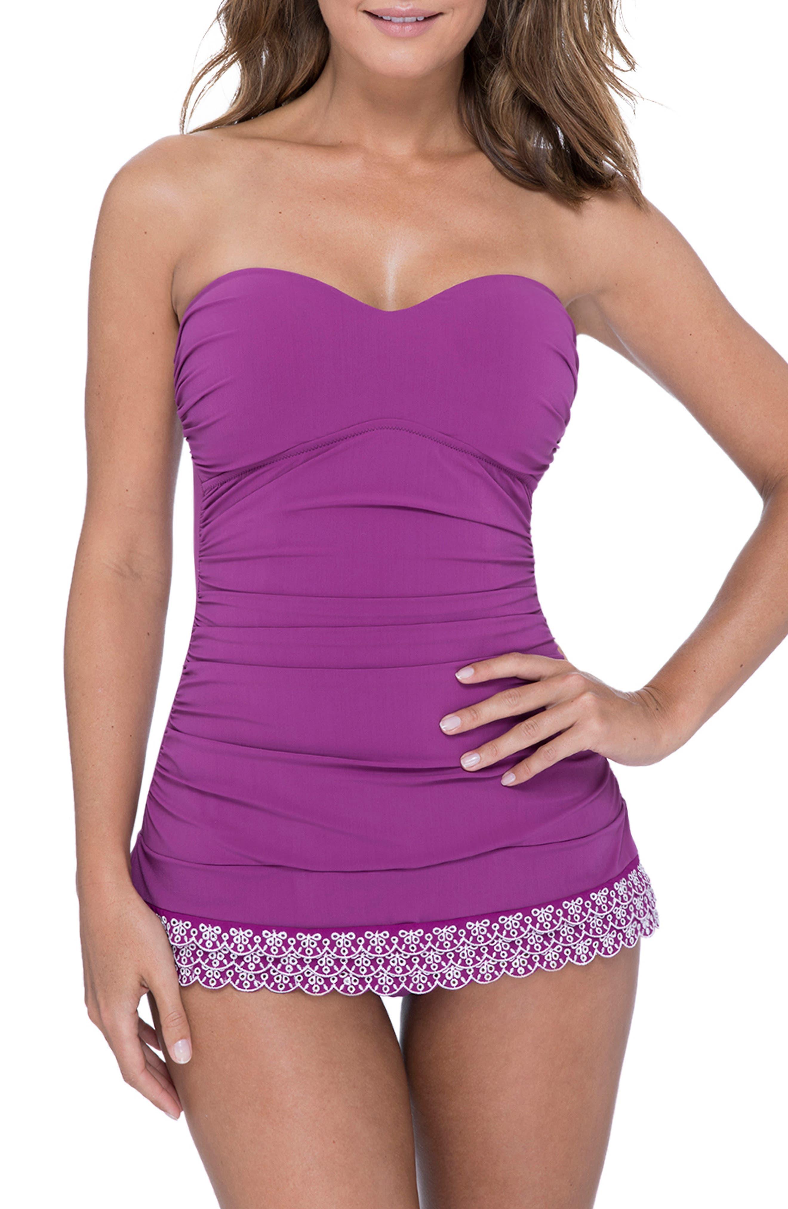 1950s Swimsuits, 50s Bathing Suits, Retro Swimwear Womens Profile By Gottex Bandeau Swim Dress Size 10 - Purple $138.00 AT vintagedancer.com