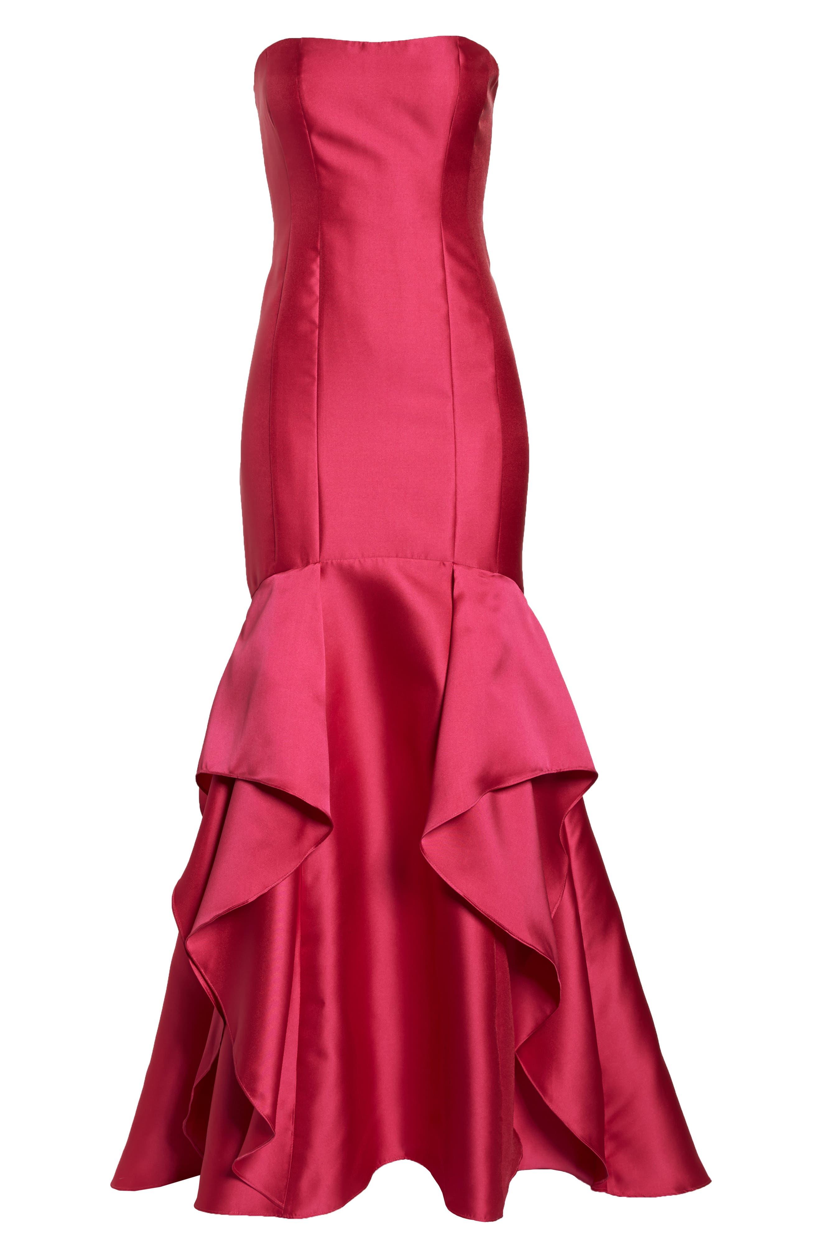 Strapless Mikado Gown,                             Alternate thumbnail 7, color,                             GERANIUM