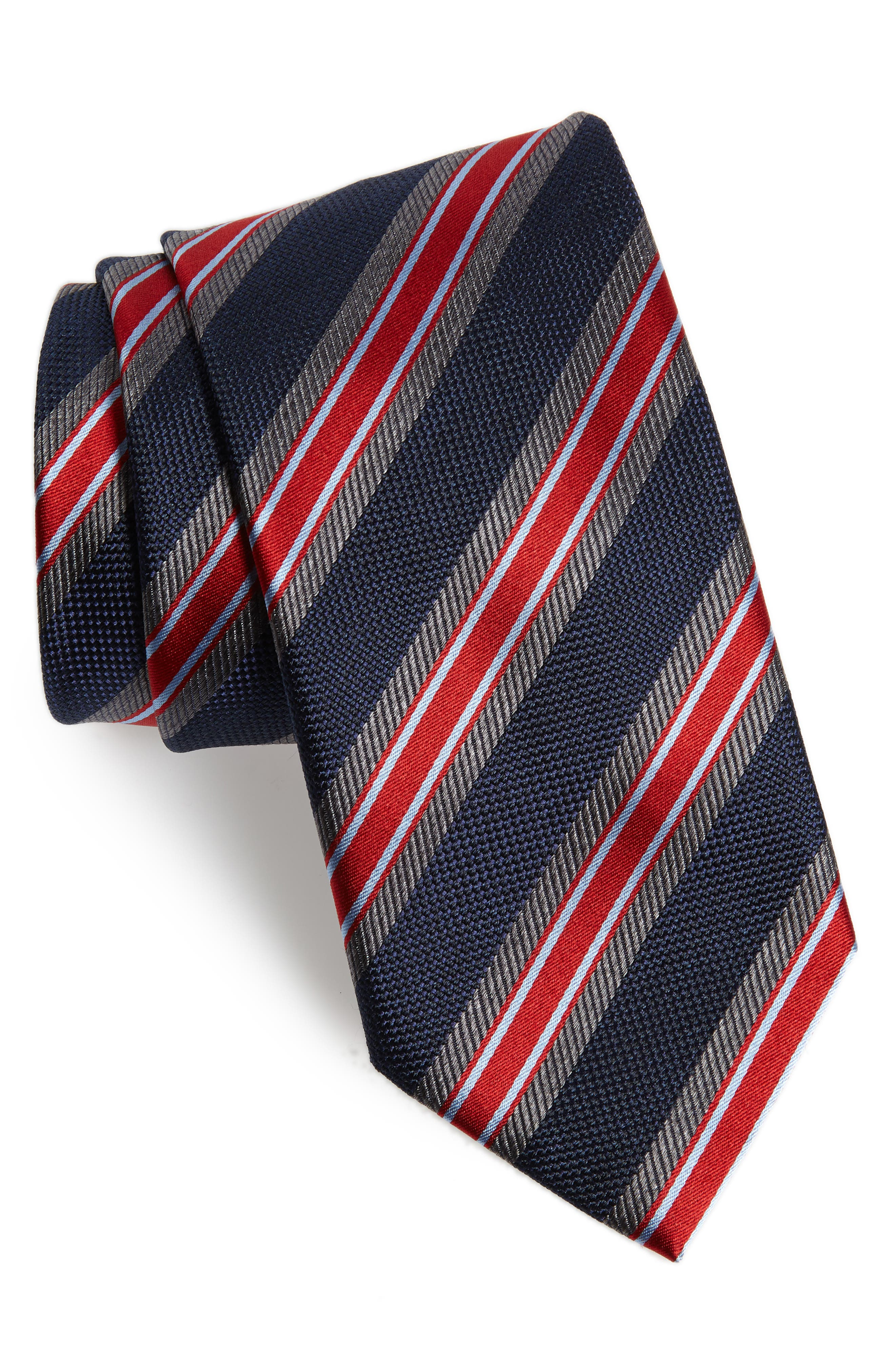 Stripe Silk Tie,                             Main thumbnail 1, color,                             BLUE/ RED