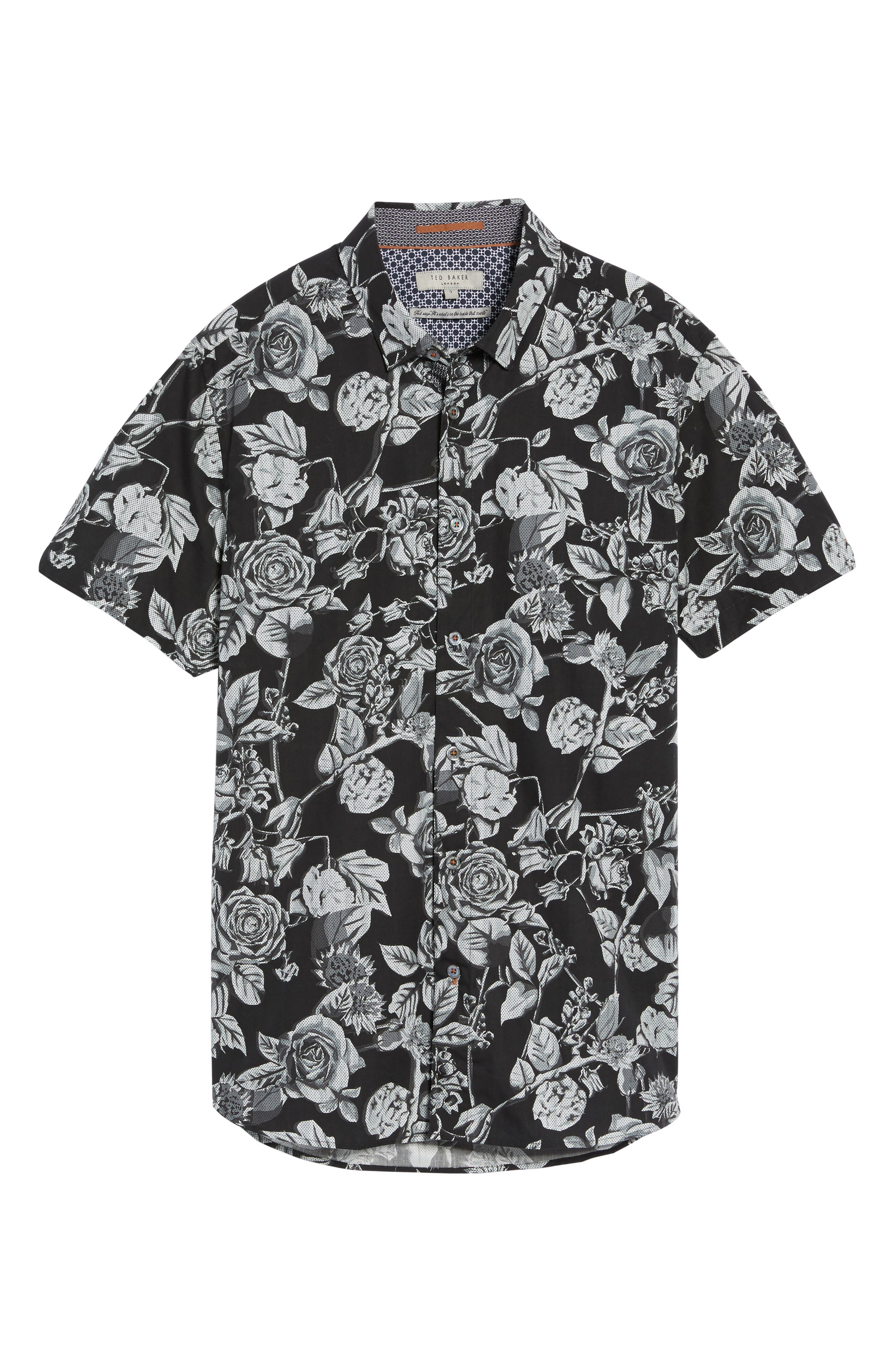 Taxee Floral Print Woven Shirt,                             Alternate thumbnail 6, color,                             001