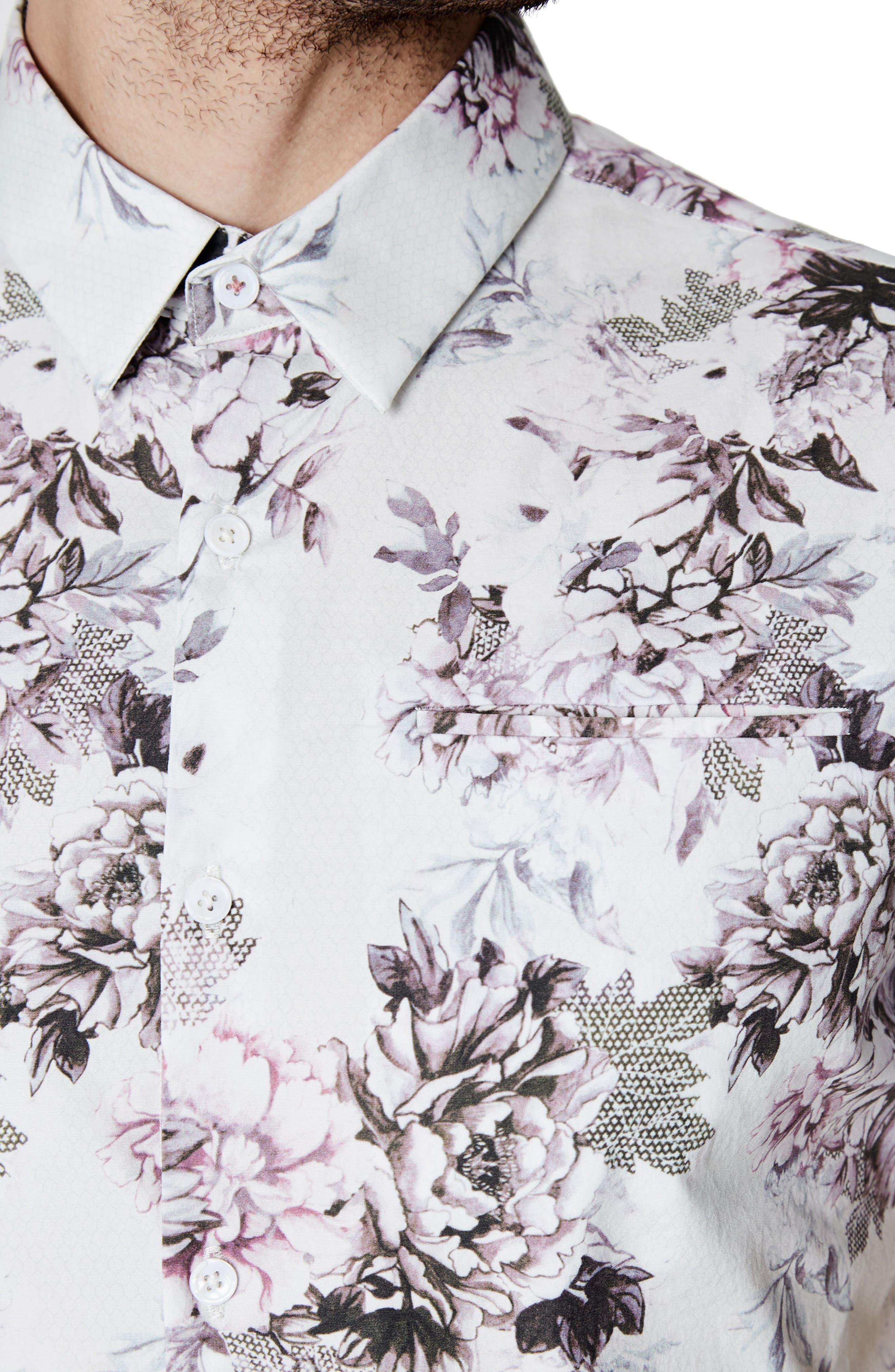 Aura Floral Sport Shirt,                             Alternate thumbnail 4, color,                             100
