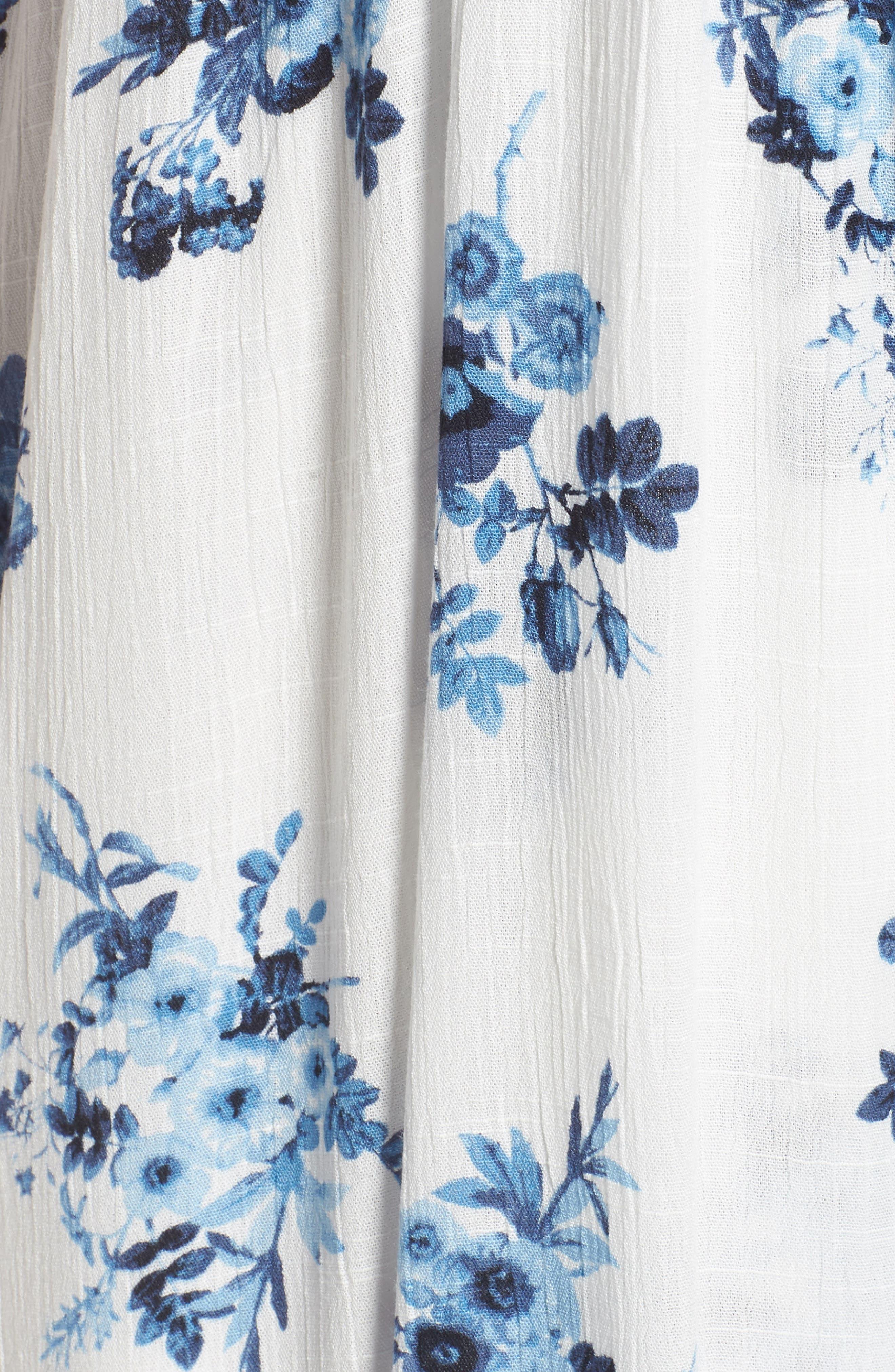 Floral Midi Wrap Dress,                             Alternate thumbnail 5, color,
