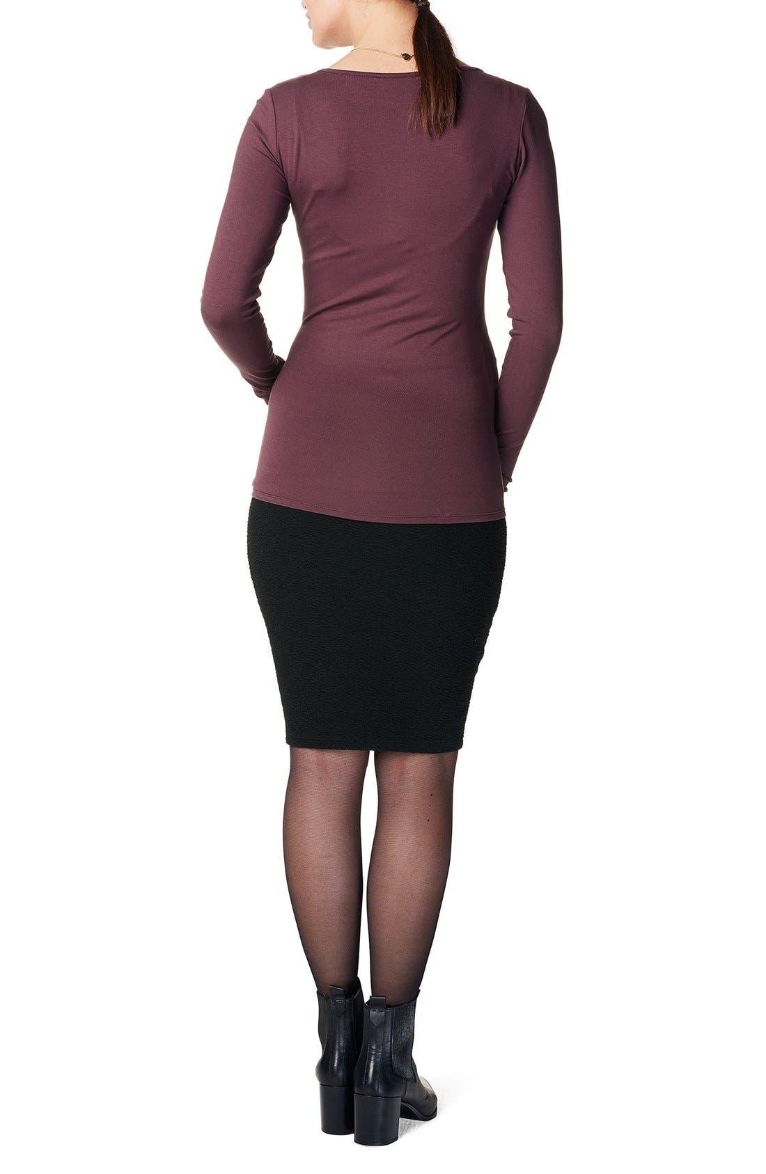 'Eli' Over the Belly Maternity Skirt,                             Alternate thumbnail 2, color,                             BLACK