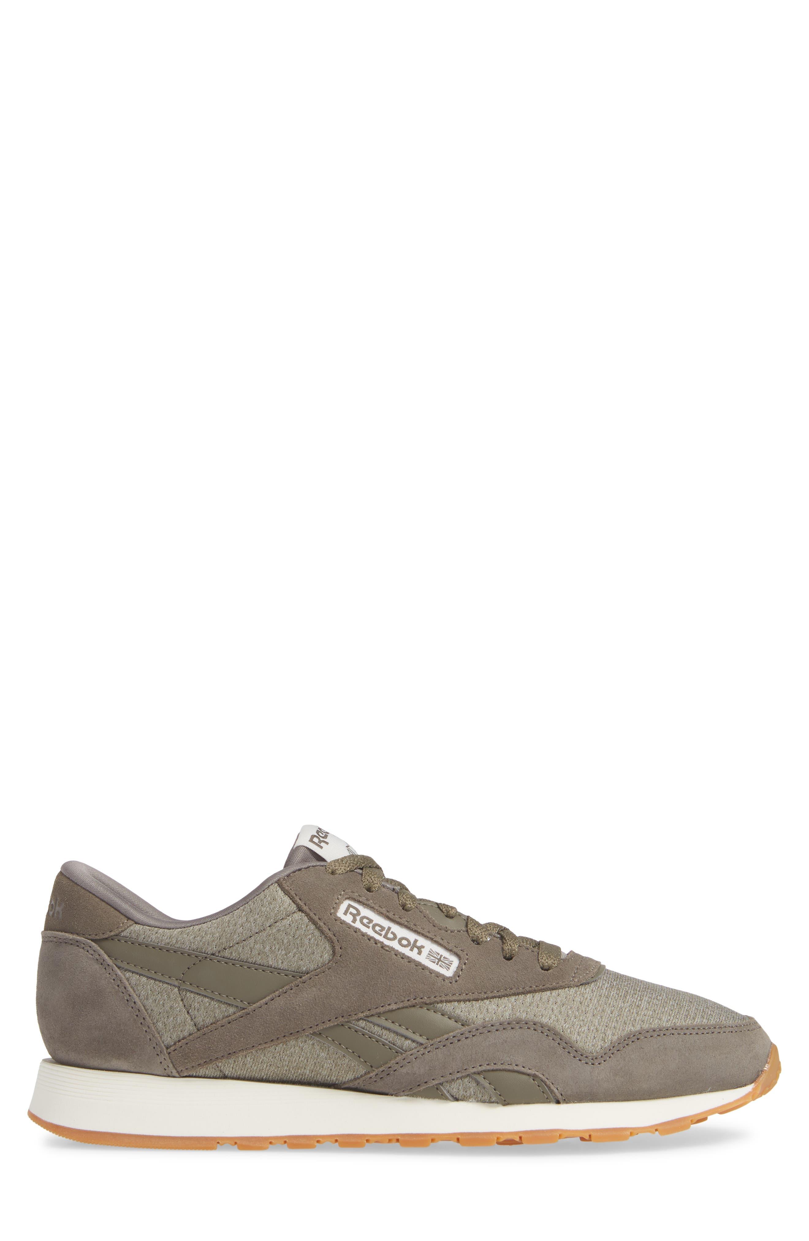 Classic Leather Nylon SG Sneaker,                             Alternate thumbnail 3, color,                             TERRAIN GREY/ CHALK