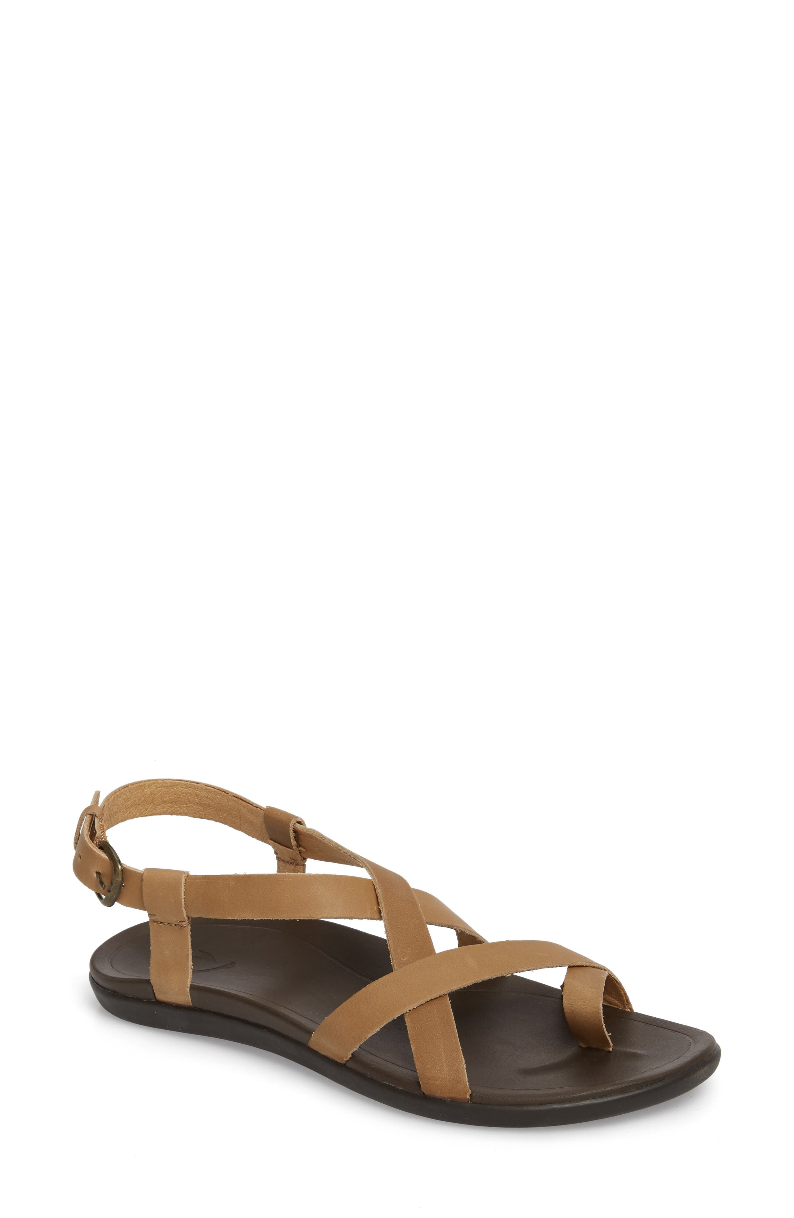 'Upena' Flat Sandal,                             Main thumbnail 1, color,                             GOLDEN SAND/ SAND LEATHER