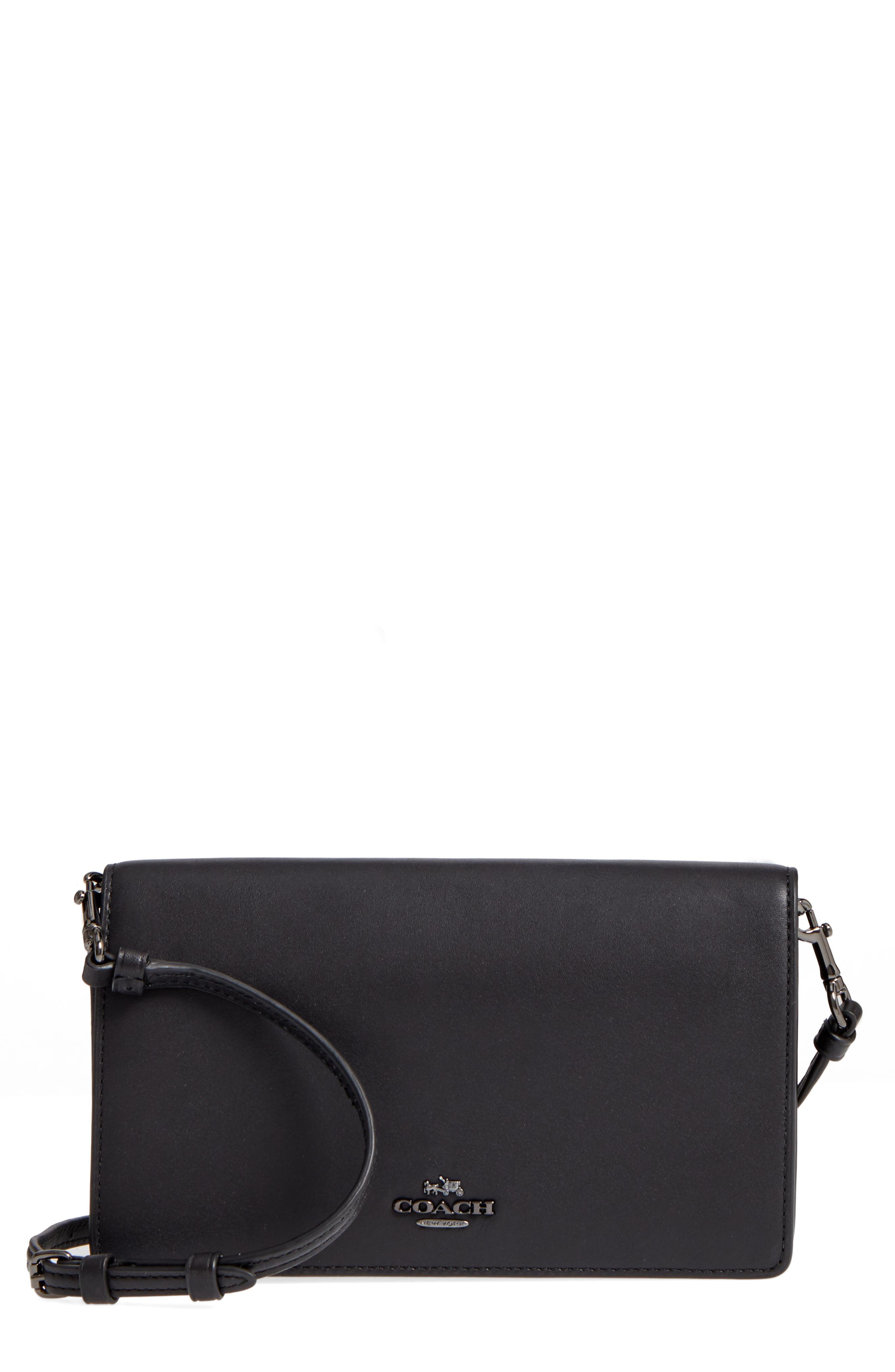 Calfskin Leather Foldover Convertible Clutch,                             Main thumbnail 1, color,                             009