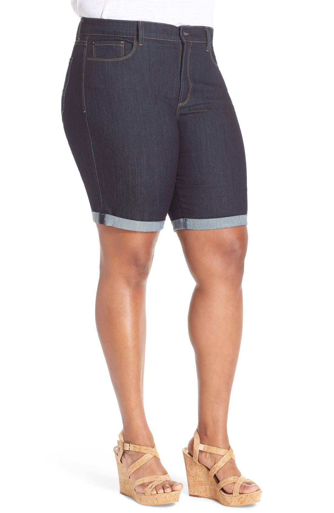 'Briella' Stretch Roll Cuff Denim Shorts,                             Alternate thumbnail 4, color,                             400
