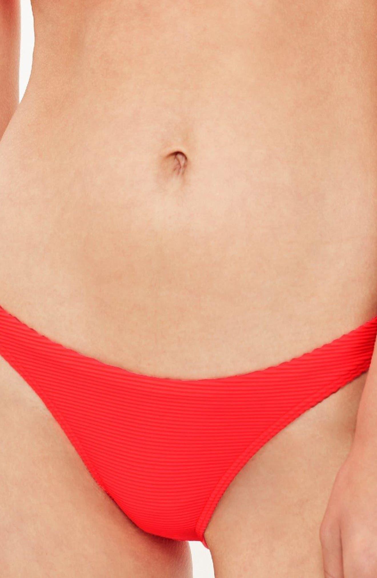Ribbed High Leg Bikini Bottoms,                             Main thumbnail 4, color,