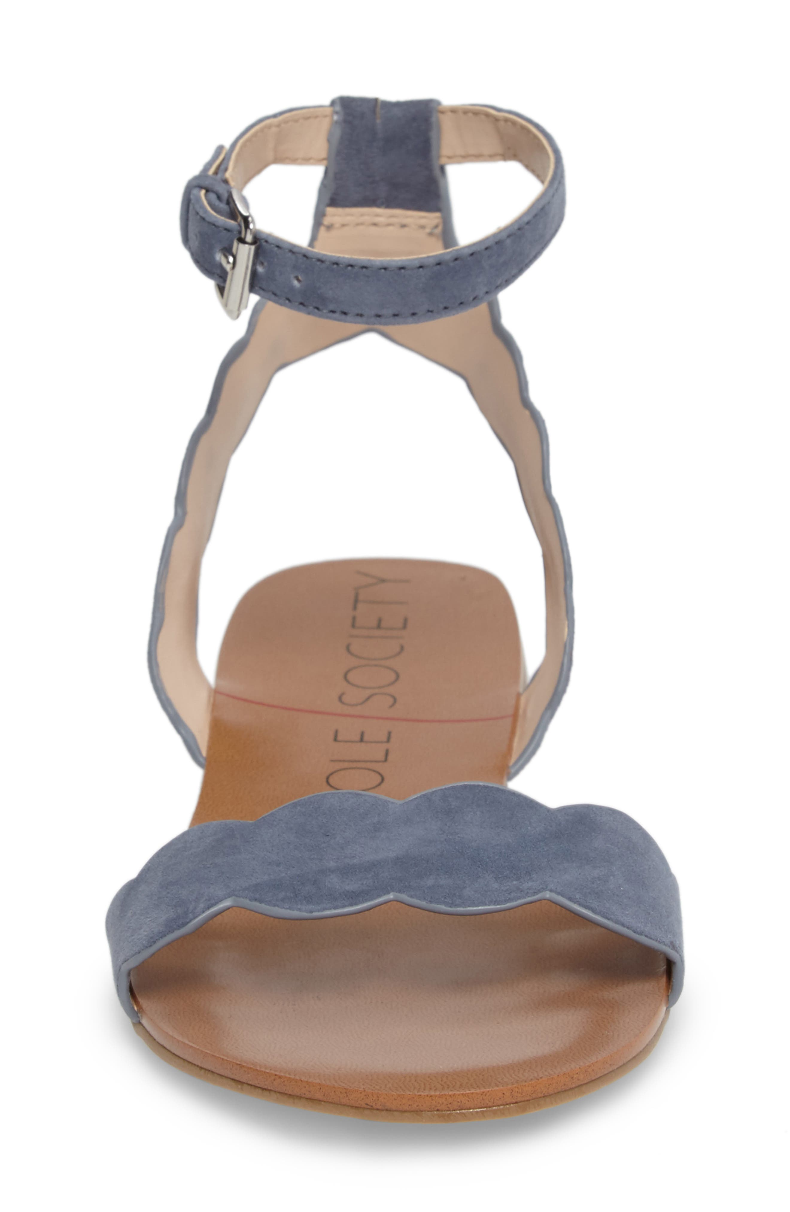 'Odette' Scalloped Ankle Strap Flat Sandal,                             Alternate thumbnail 27, color,