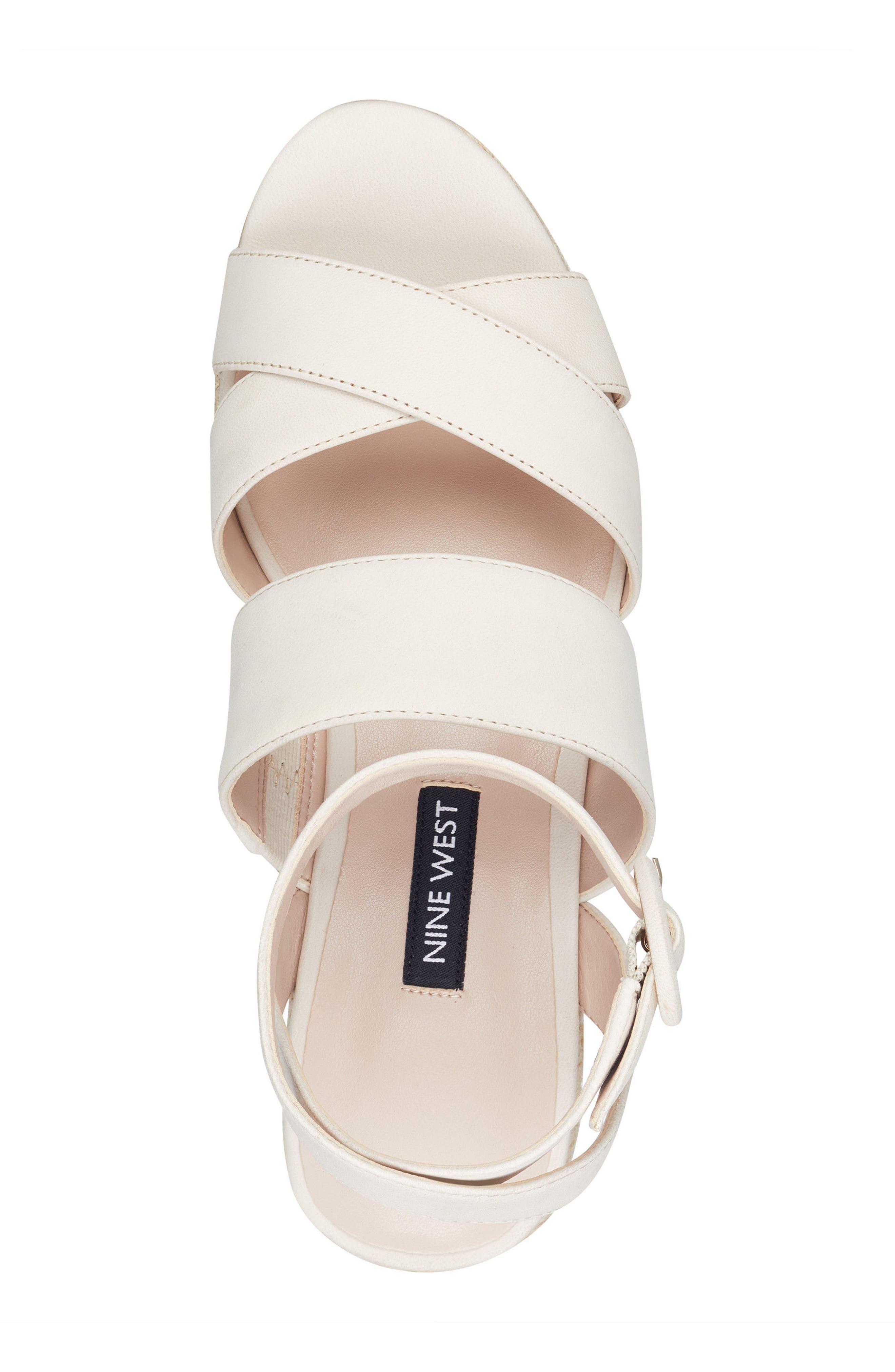 Kushala Espadrille Platform Wedge Sandal,                             Alternate thumbnail 5, color,                             OFF WHITE LEATHER