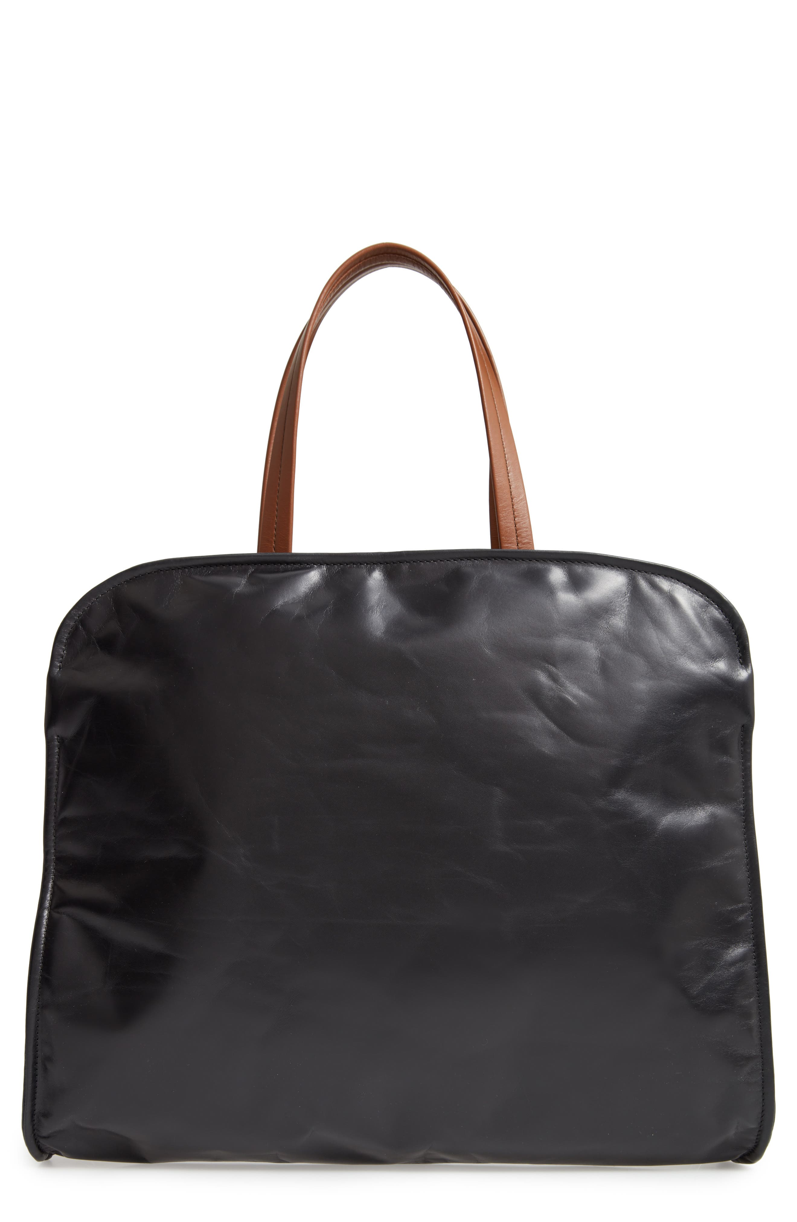 Cushion Leather Tote, Main, color, BLACK/ MAROON