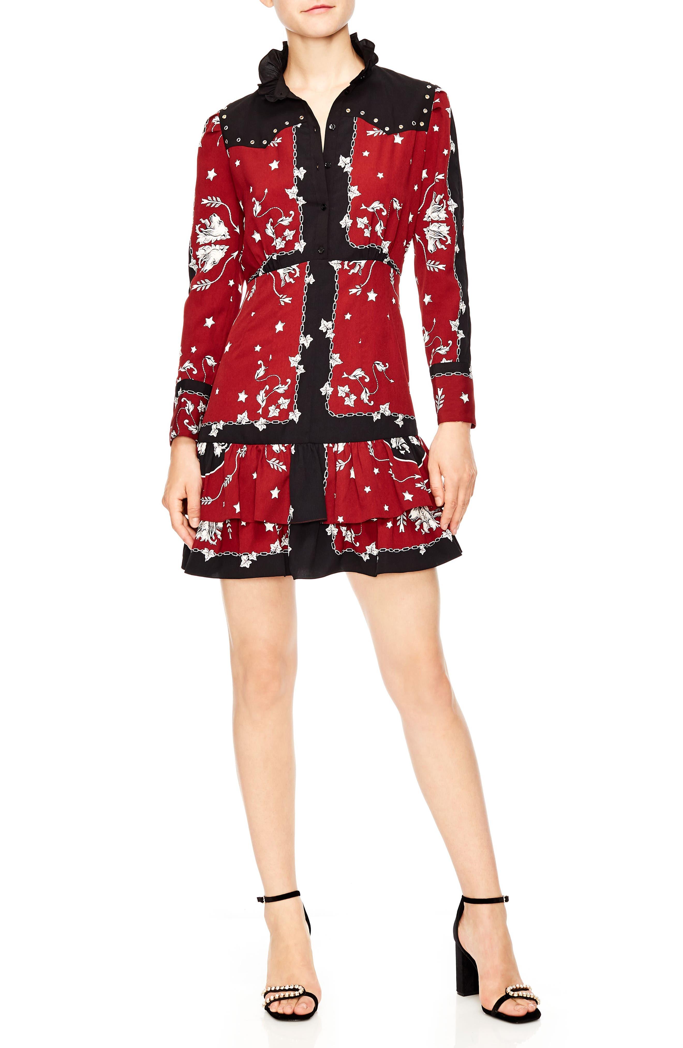 Grommet Detail Mini Dress,                         Main,                         color, BURGUNDY