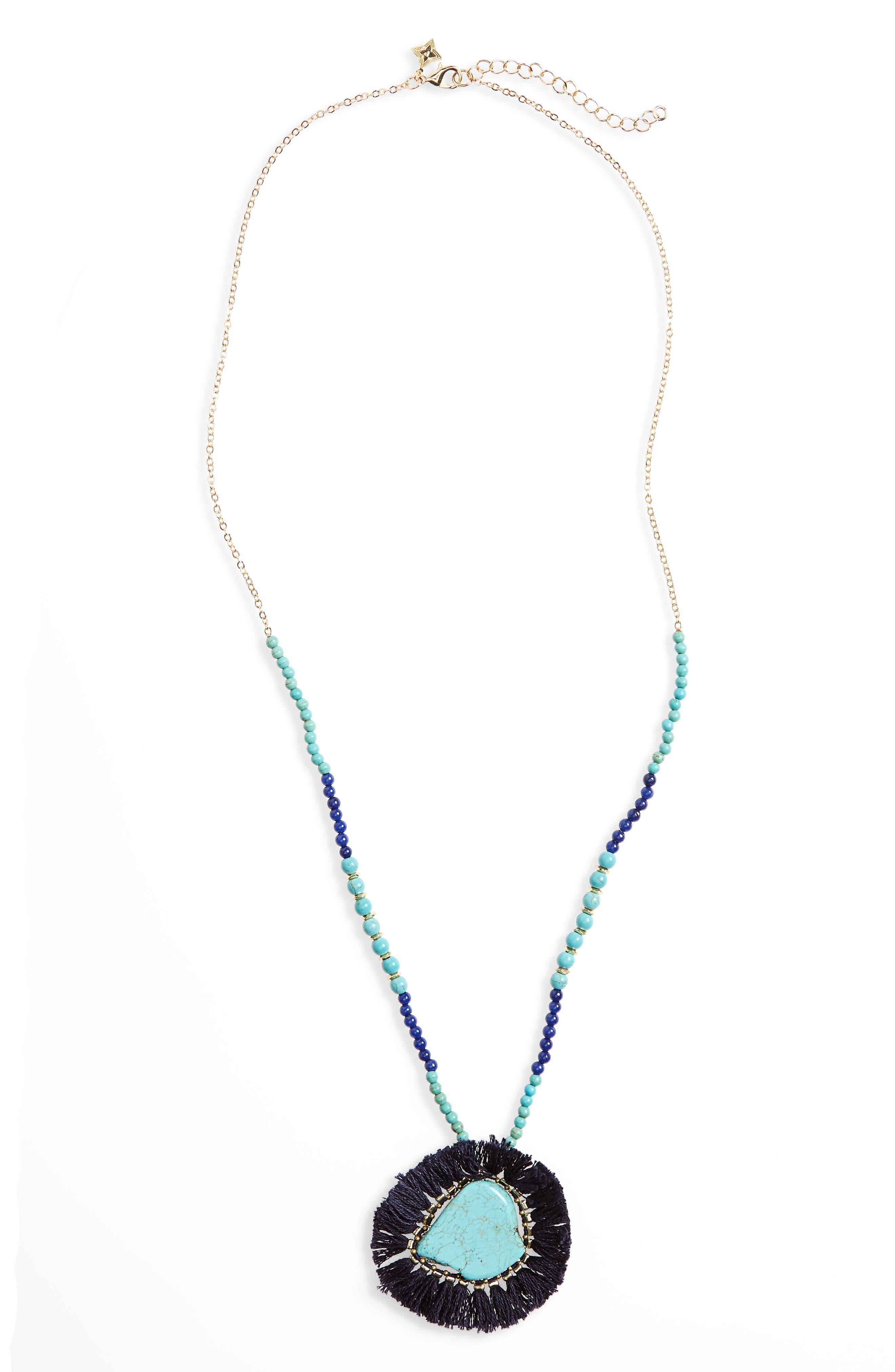 Fringe Howlite Pendant Necklace,                             Main thumbnail 1, color,                             400