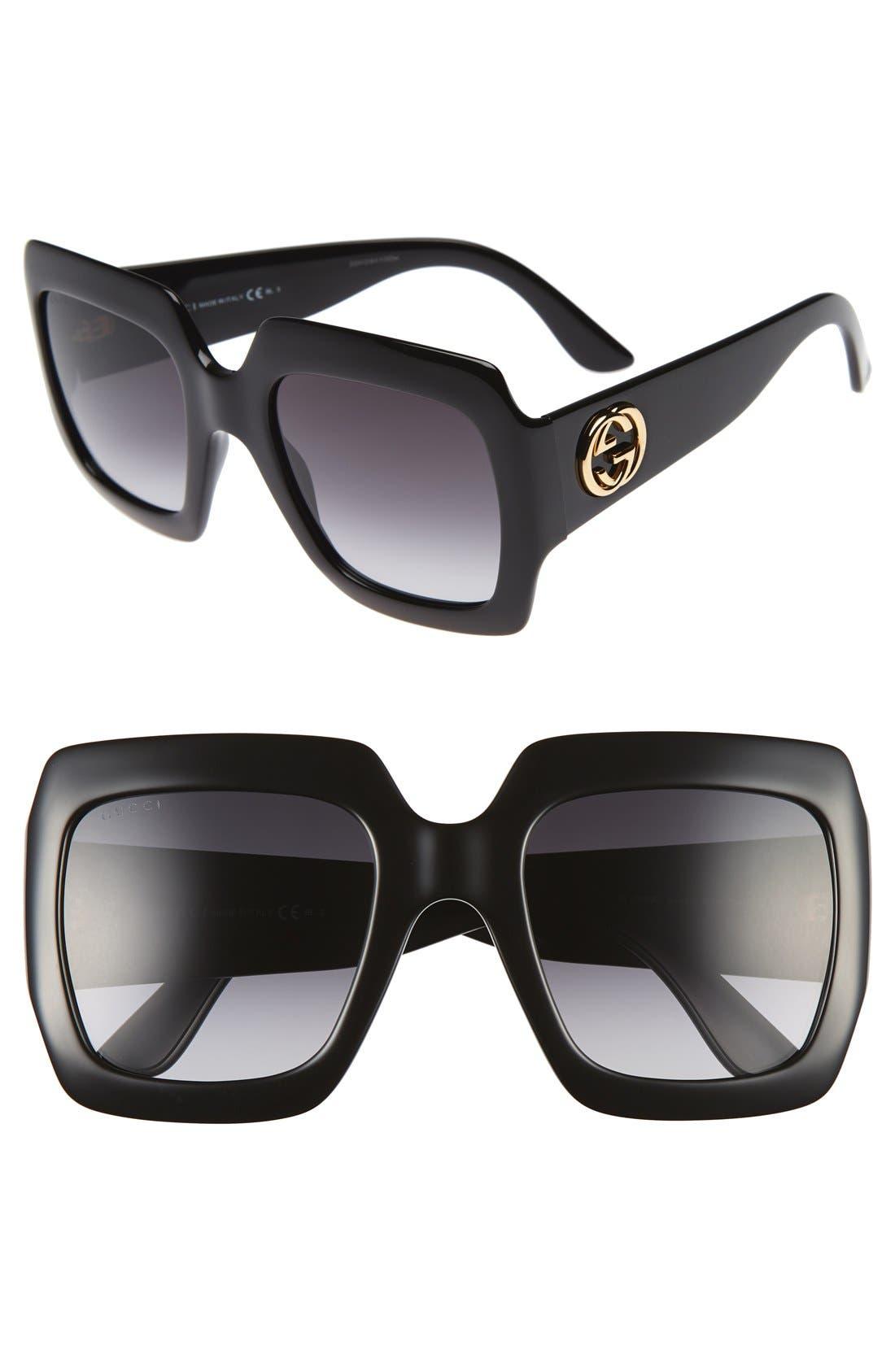 GUCCI,                             58mm Oversize Square Sunglasses,                             Main thumbnail 1, color,                             001