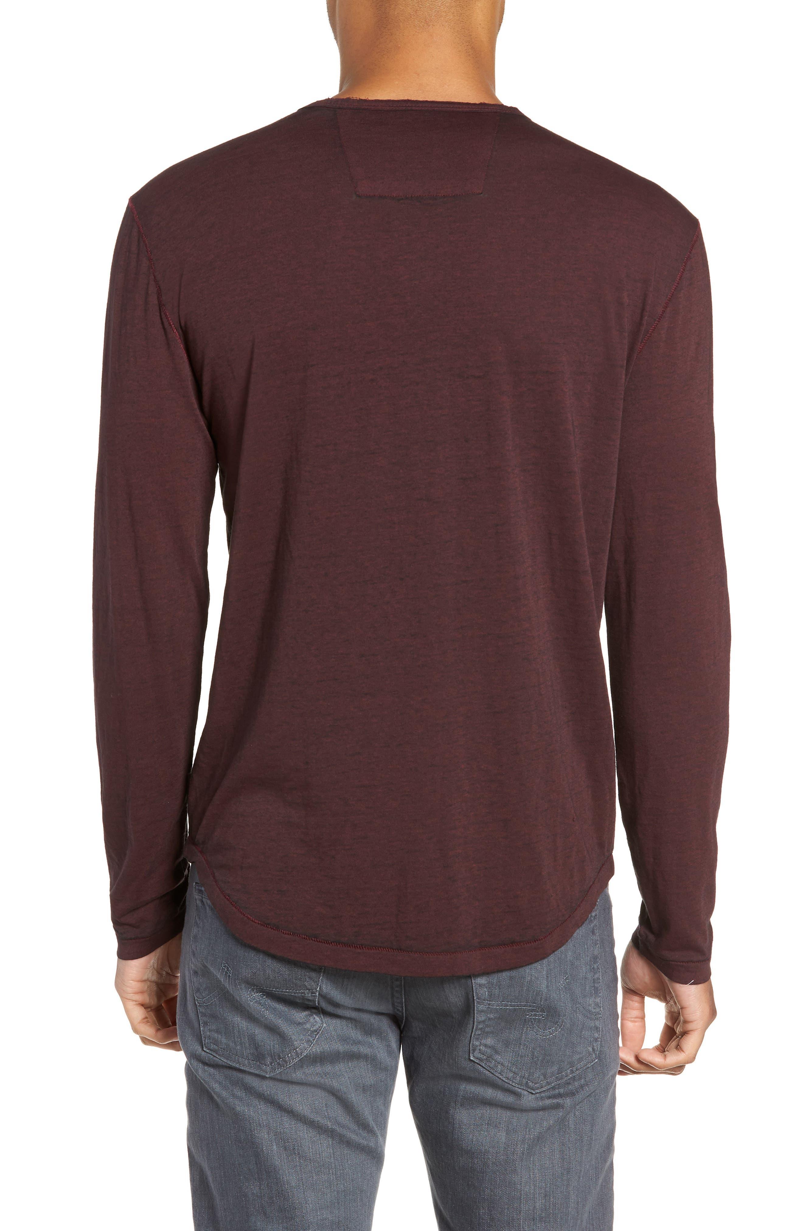 Burnout Long Sleeve T-Shirt,                             Alternate thumbnail 2, color,                             BORDEAUX