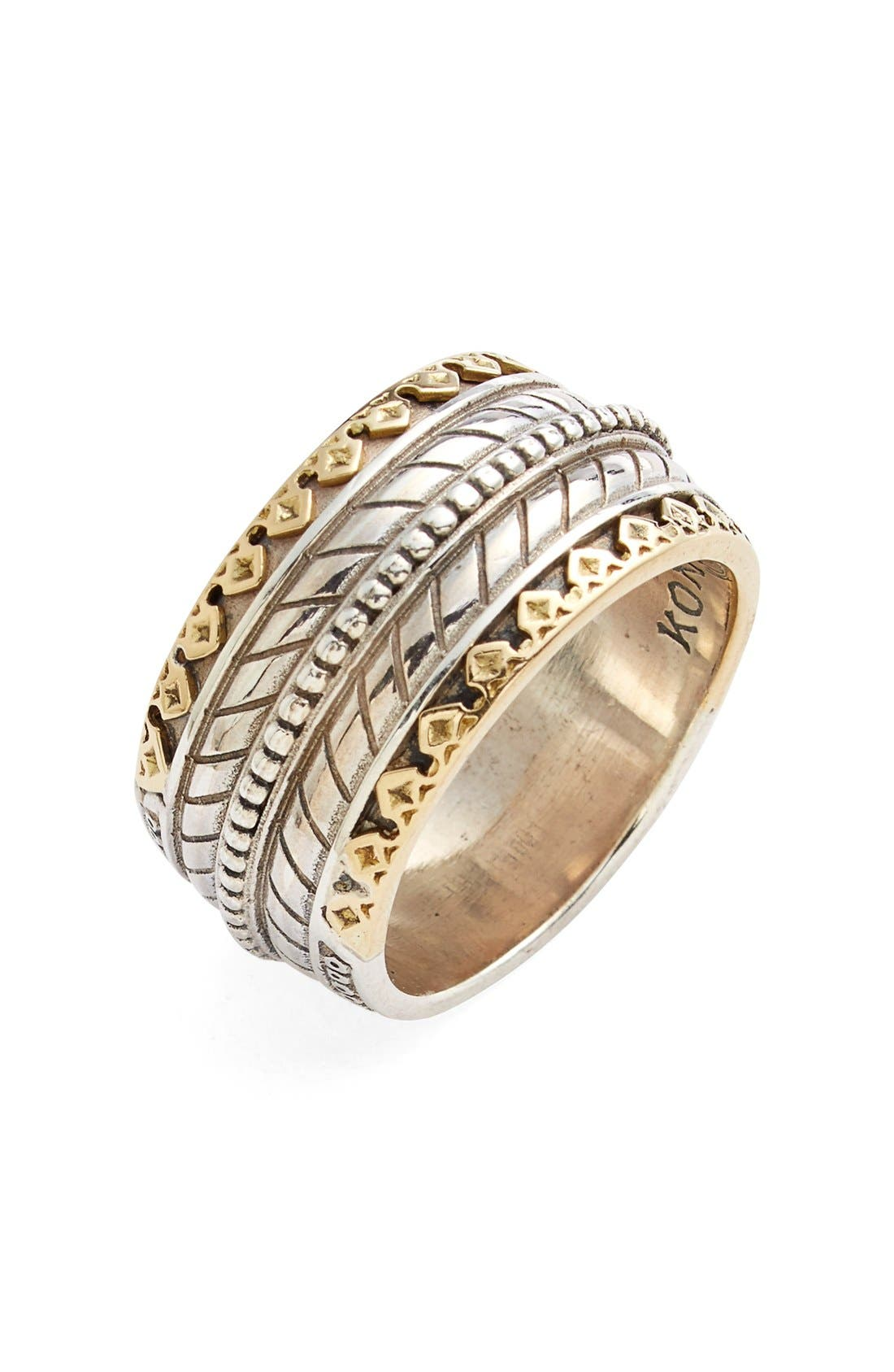'Orpheus' Carved Band Ring,                             Main thumbnail 1, color,                             SILVER/ GOLD