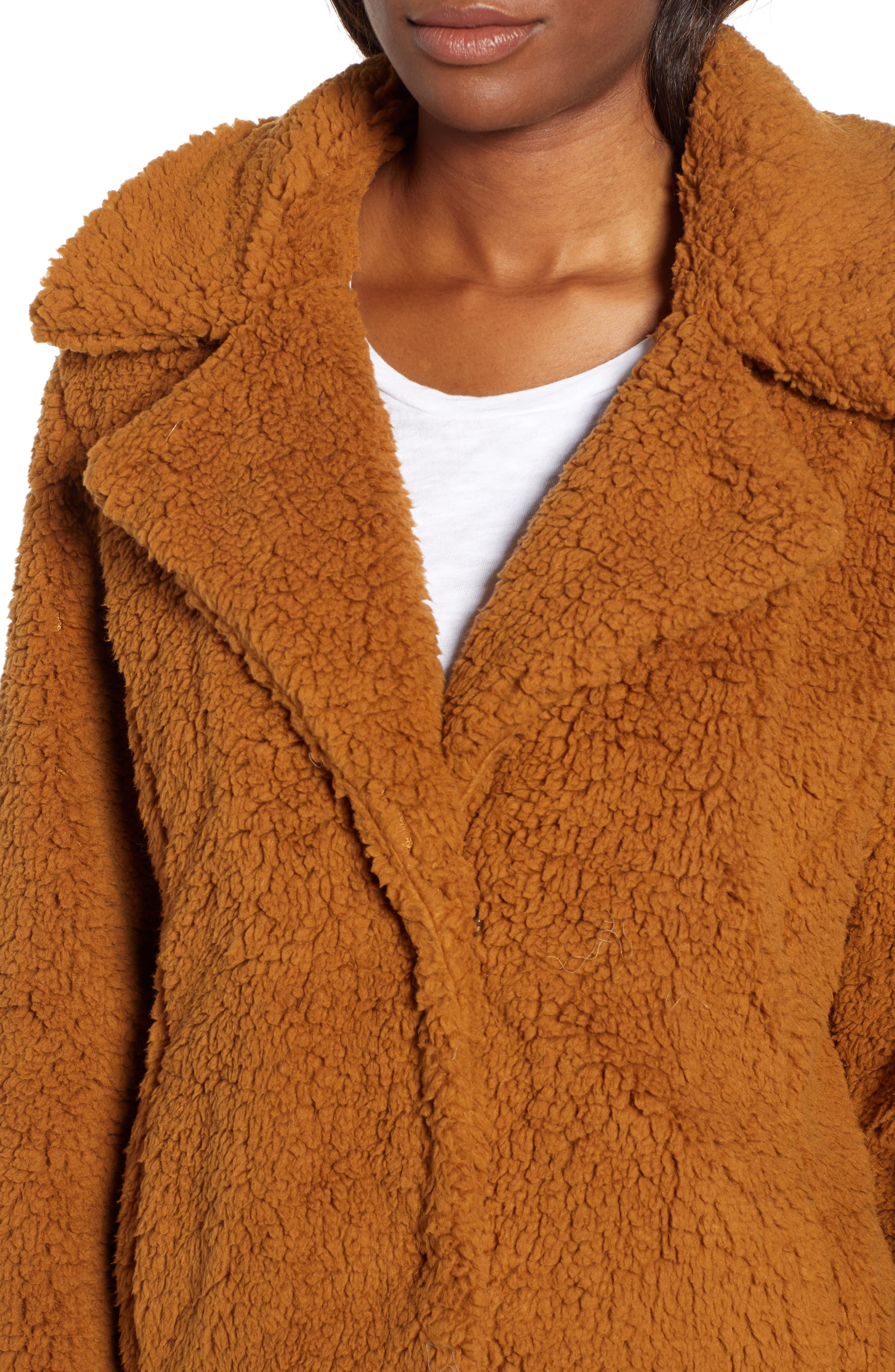 Faux Shearling Jacket,                             Alternate thumbnail 4, color,                             BROWN SADDLE