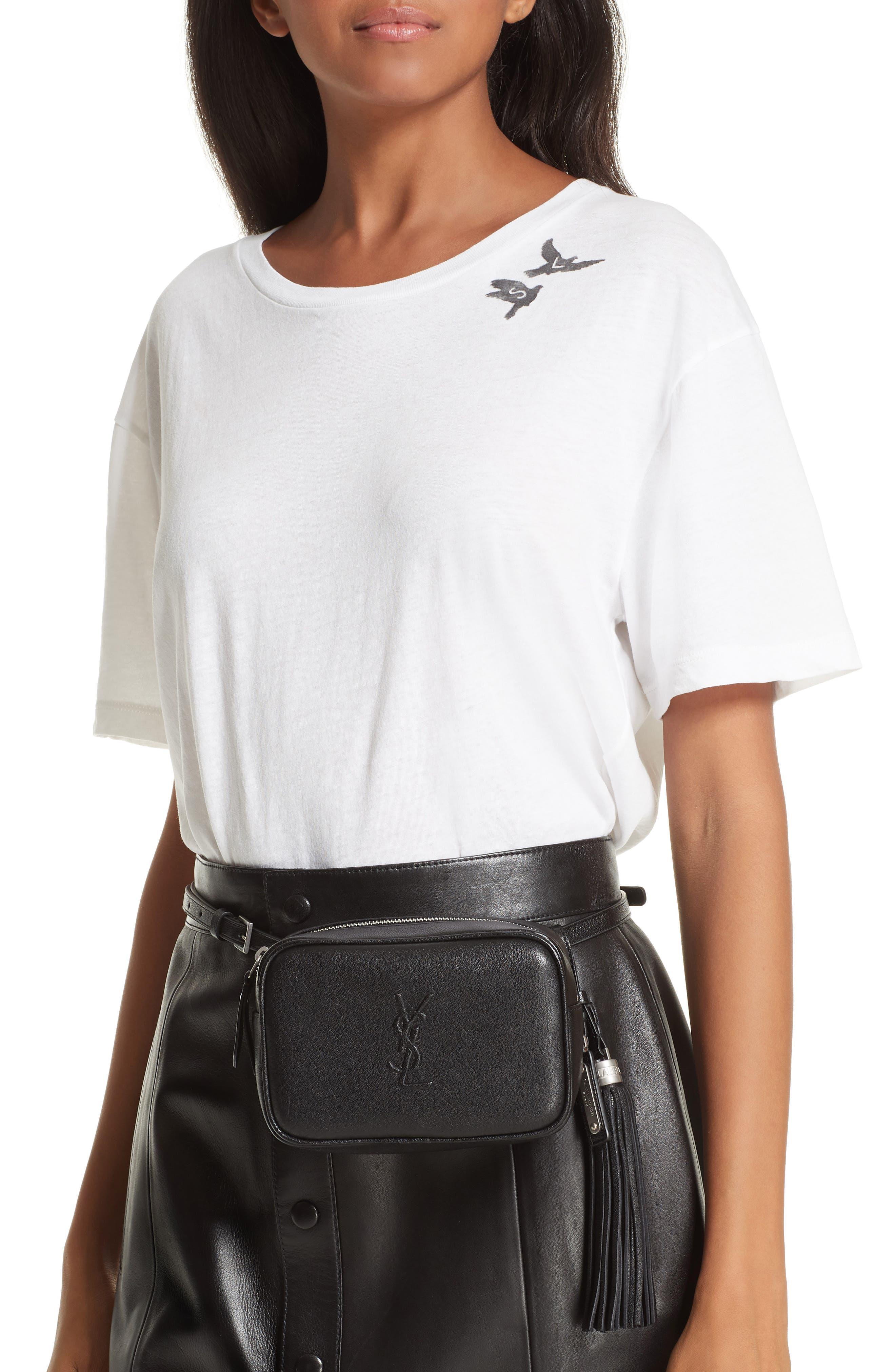 Loulou Tassel Leather Belt Bag,                             Alternate thumbnail 3, color,                             001