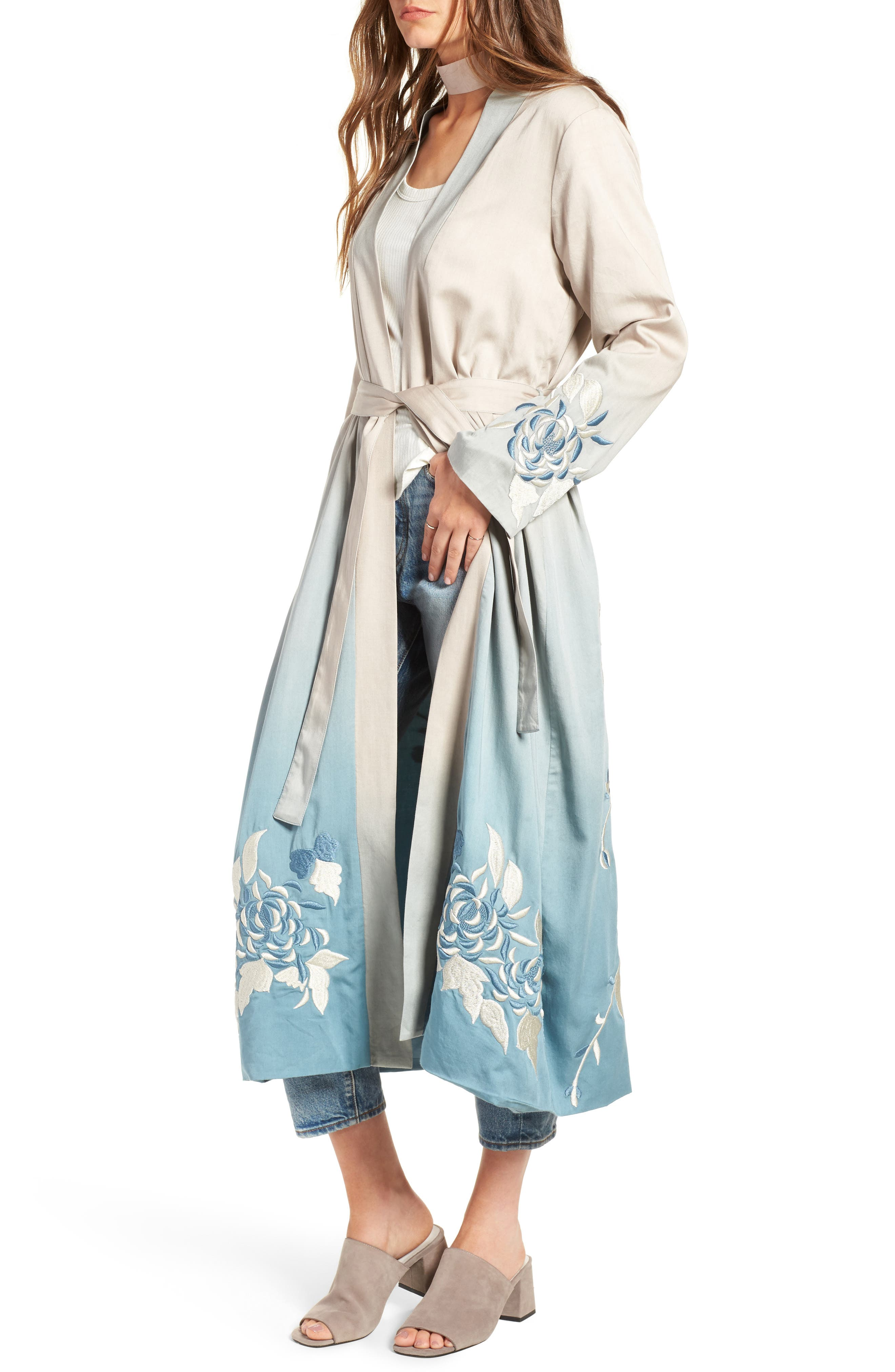 Silversage Embroidered Duster Jacket,                             Alternate thumbnail 4, color,                             475