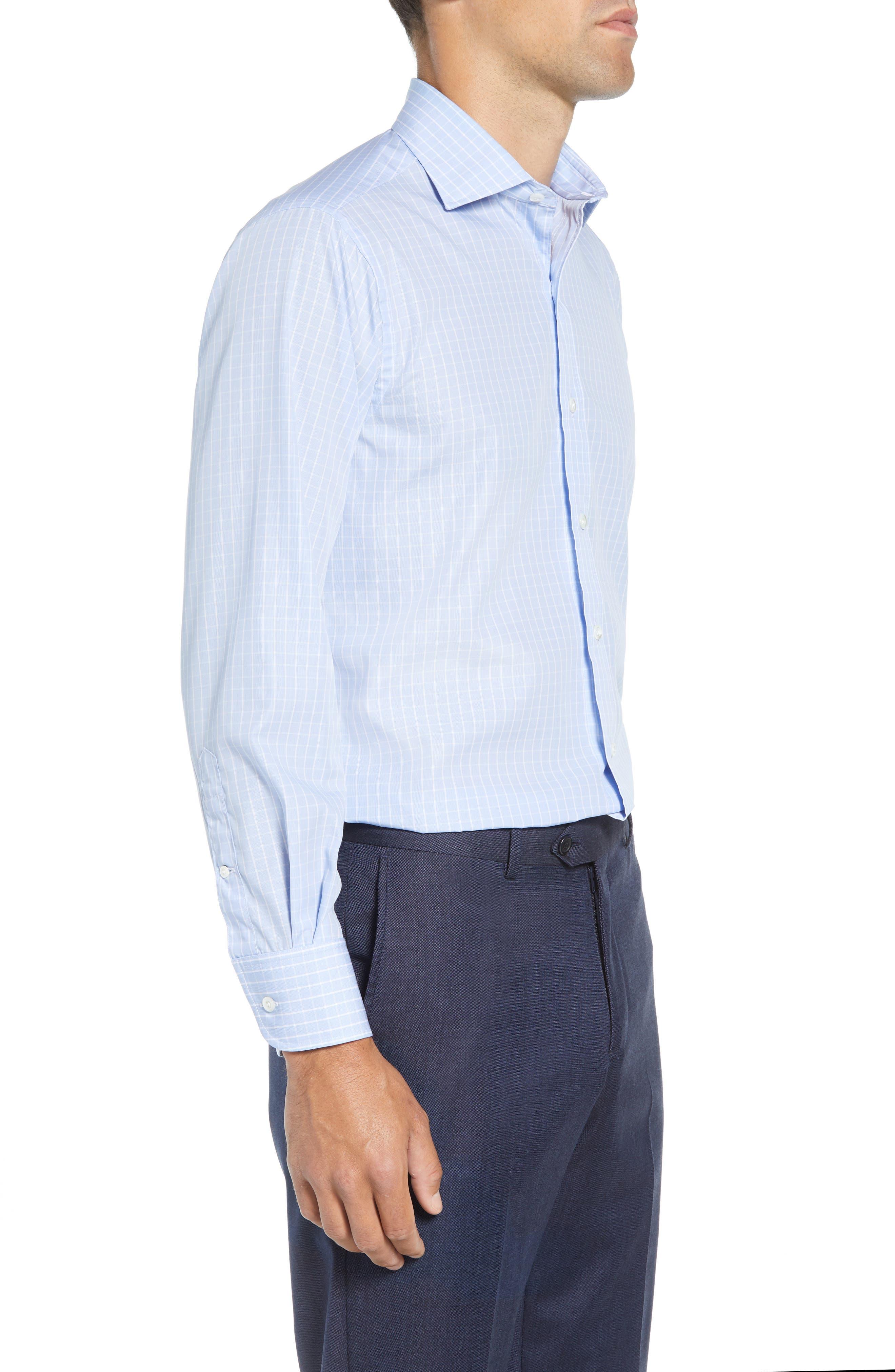 McBride Trim Fit Check Dress Shirt,                             Alternate thumbnail 4, color,                             BLUE