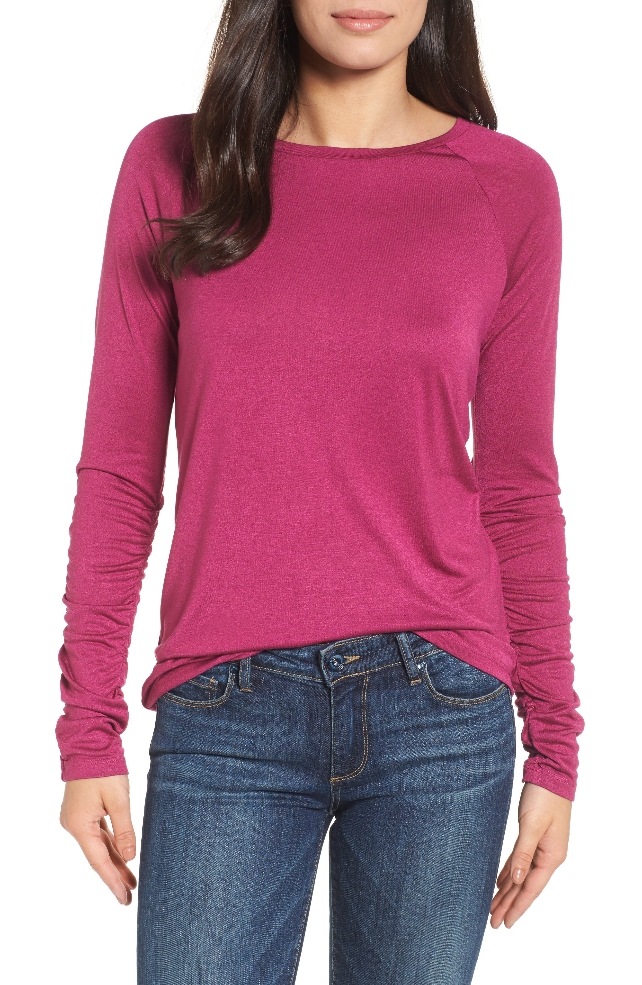 Ruched Sleeve Tee,                             Main thumbnail 4, color,