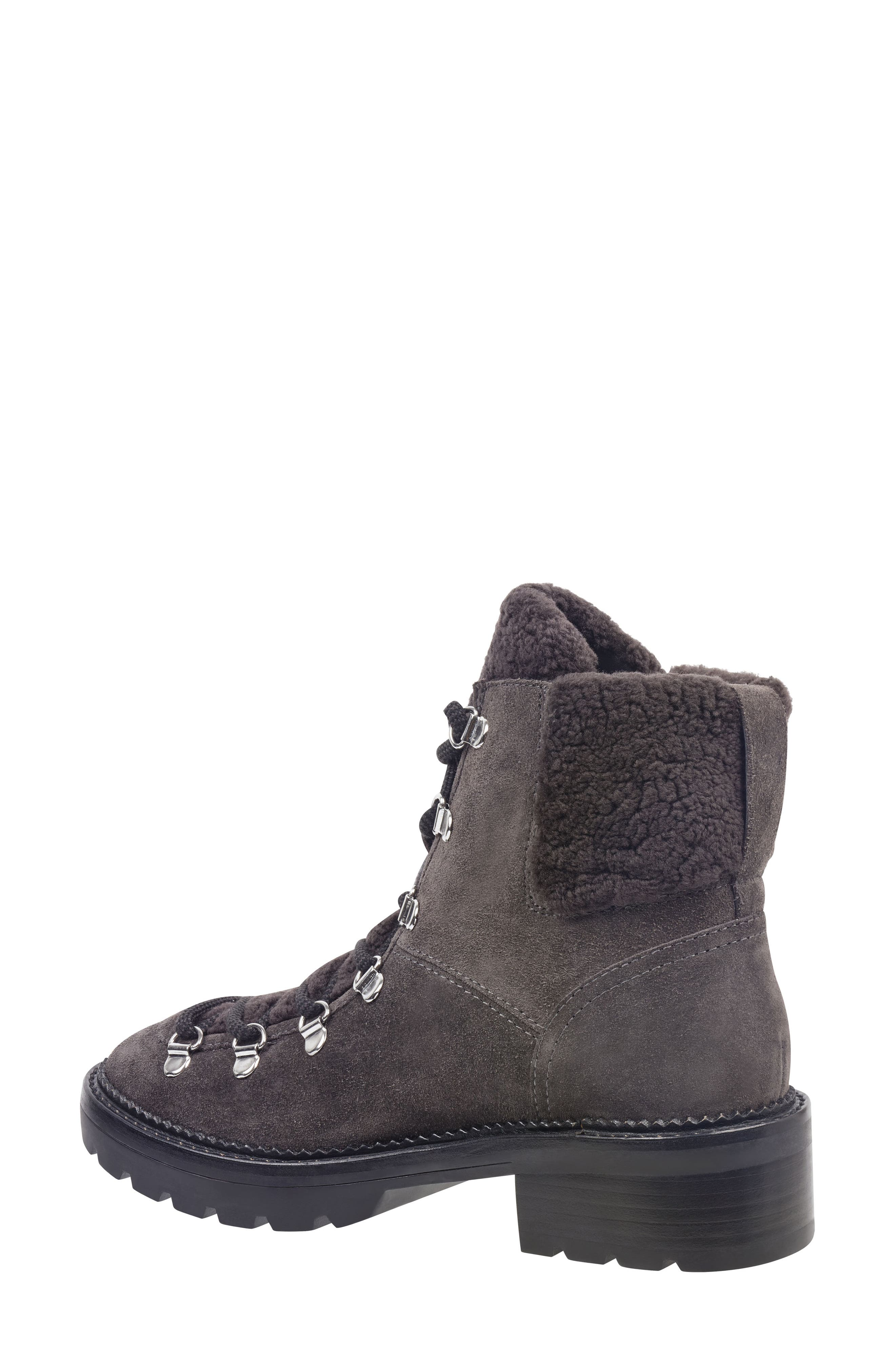 MARC FISHER LTD,                             Capell Genuine Shearling Cuff Lace-Up Boot,                             Alternate thumbnail 2, color,                             GREY SUEDE
