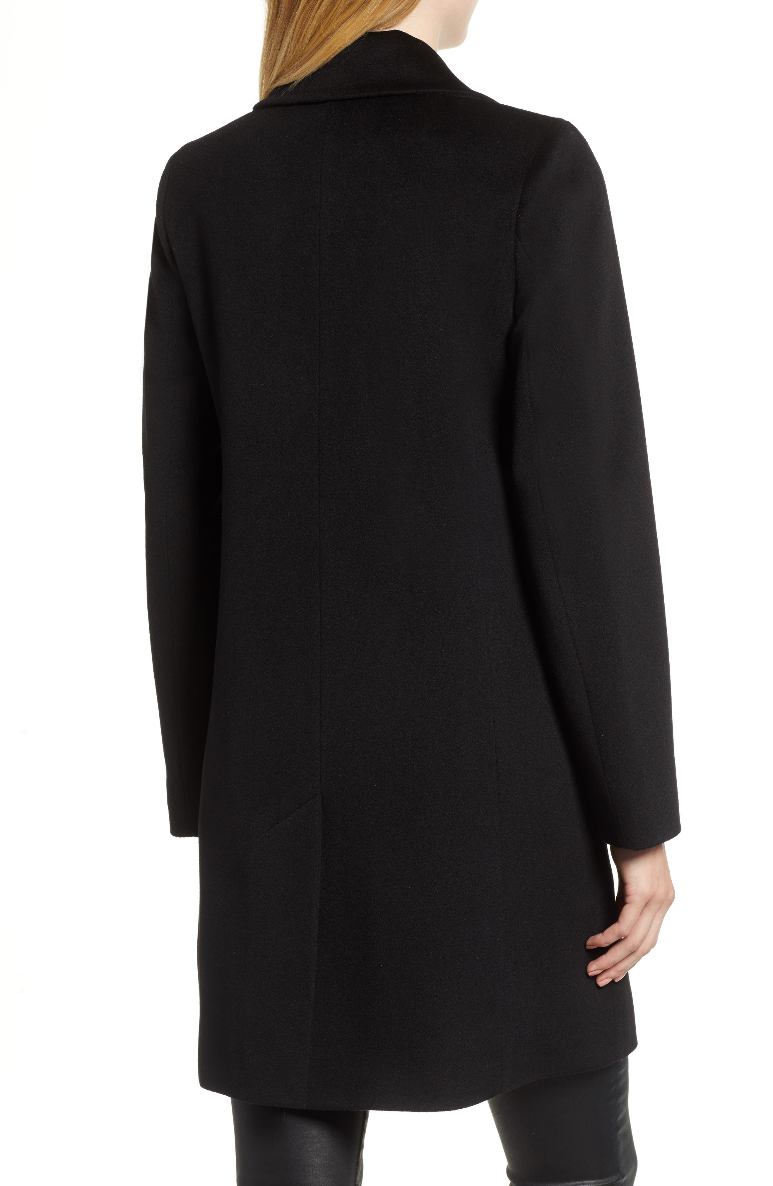 Notch Collar Wool Coat,                             Alternate thumbnail 2, color,                             BLACK