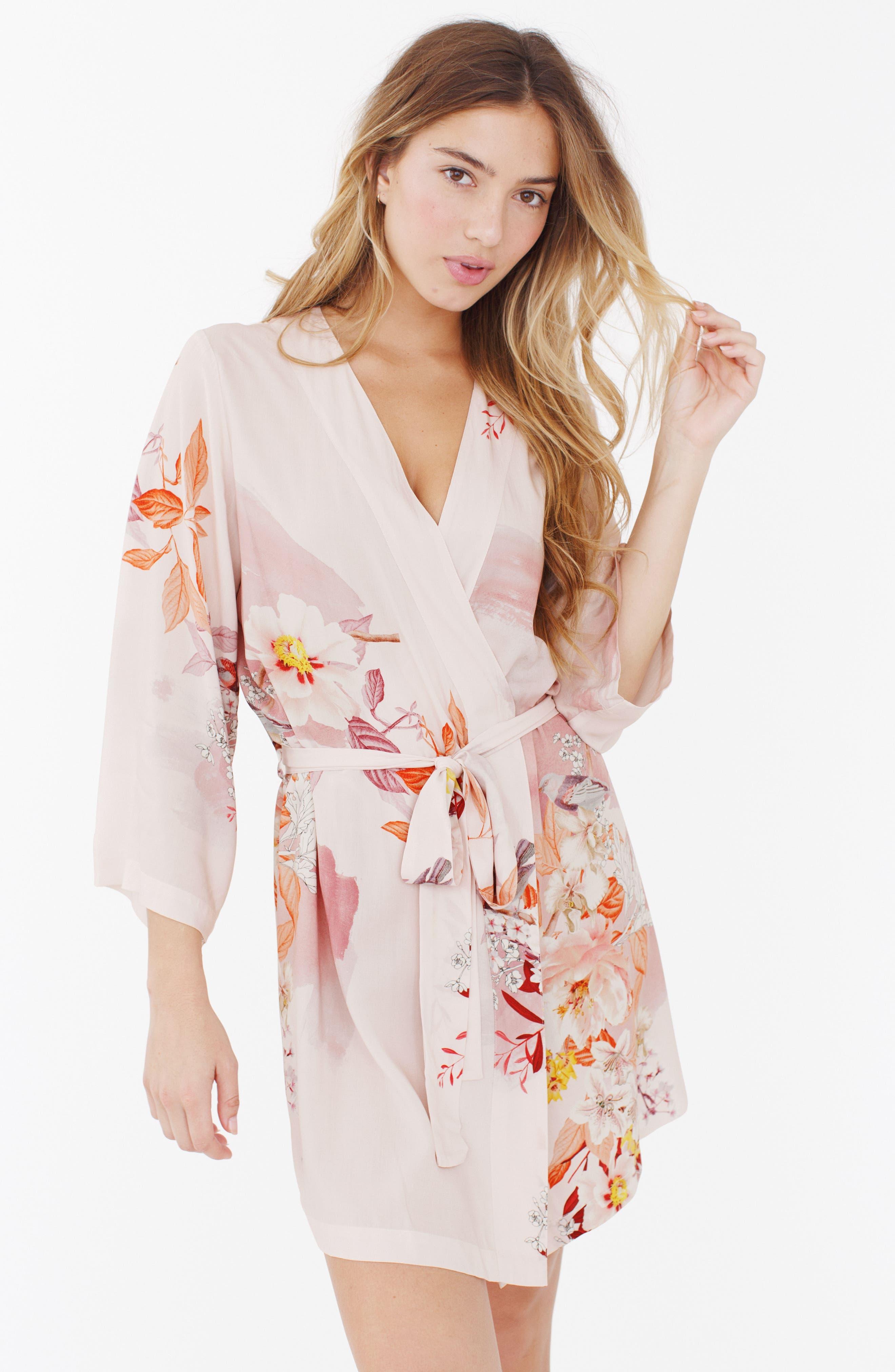 Floral Kimono Robe,                             Alternate thumbnail 4, color,                             680