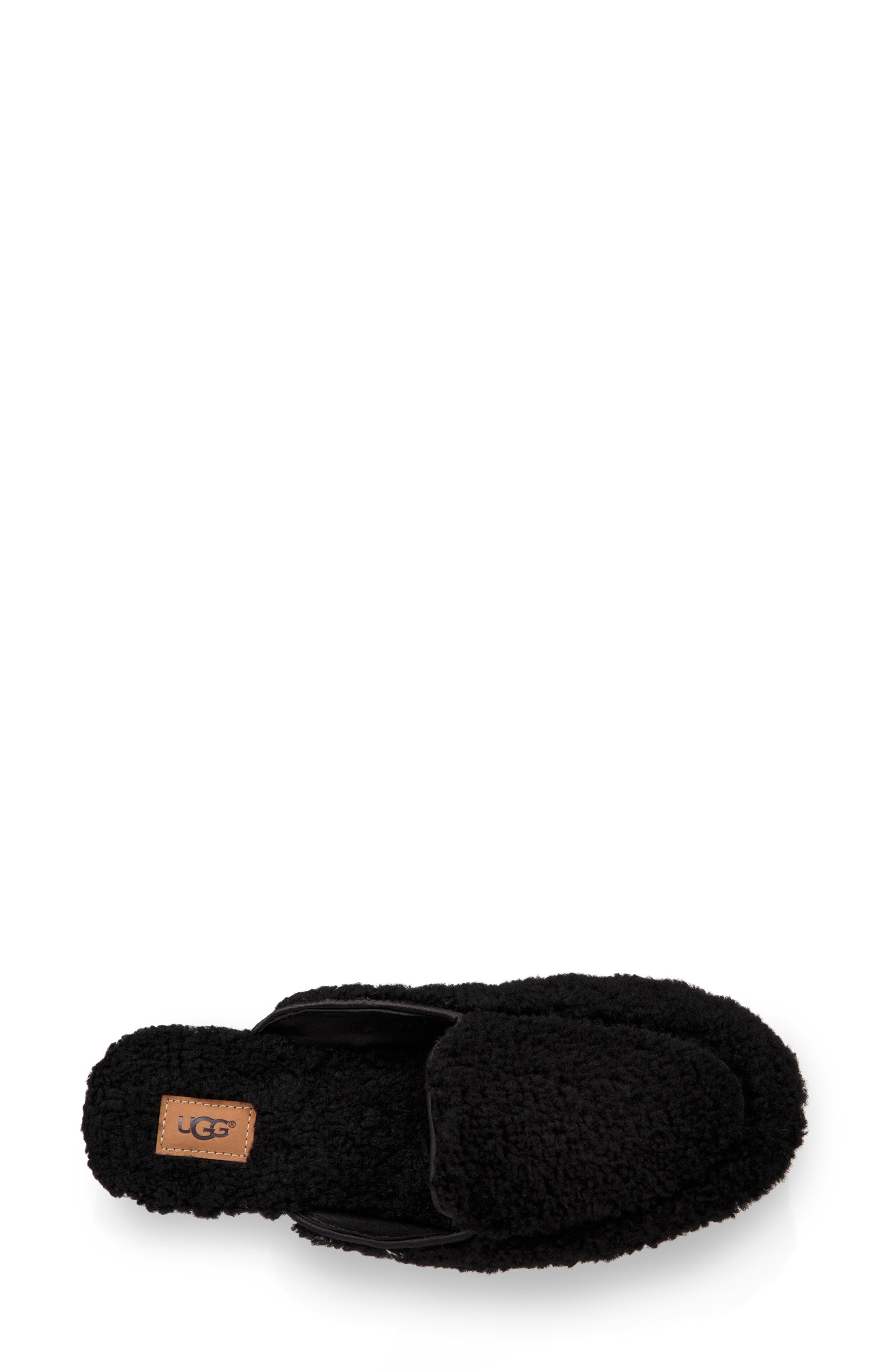 Lane Fluff Genuine Shearling Loafer Slipper,                             Alternate thumbnail 4, color,                             BLACK