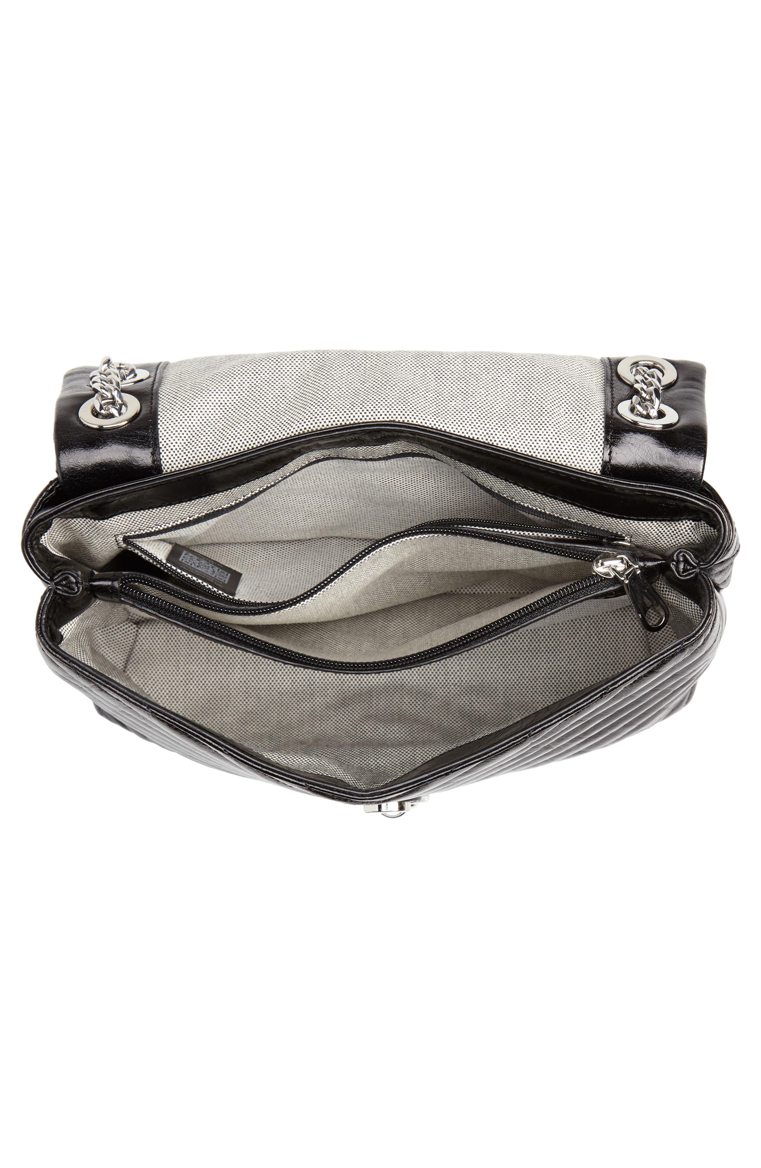 Edie Flap Front Leather Shoulder Bag,                             Alternate thumbnail 4, color,                             BLACK