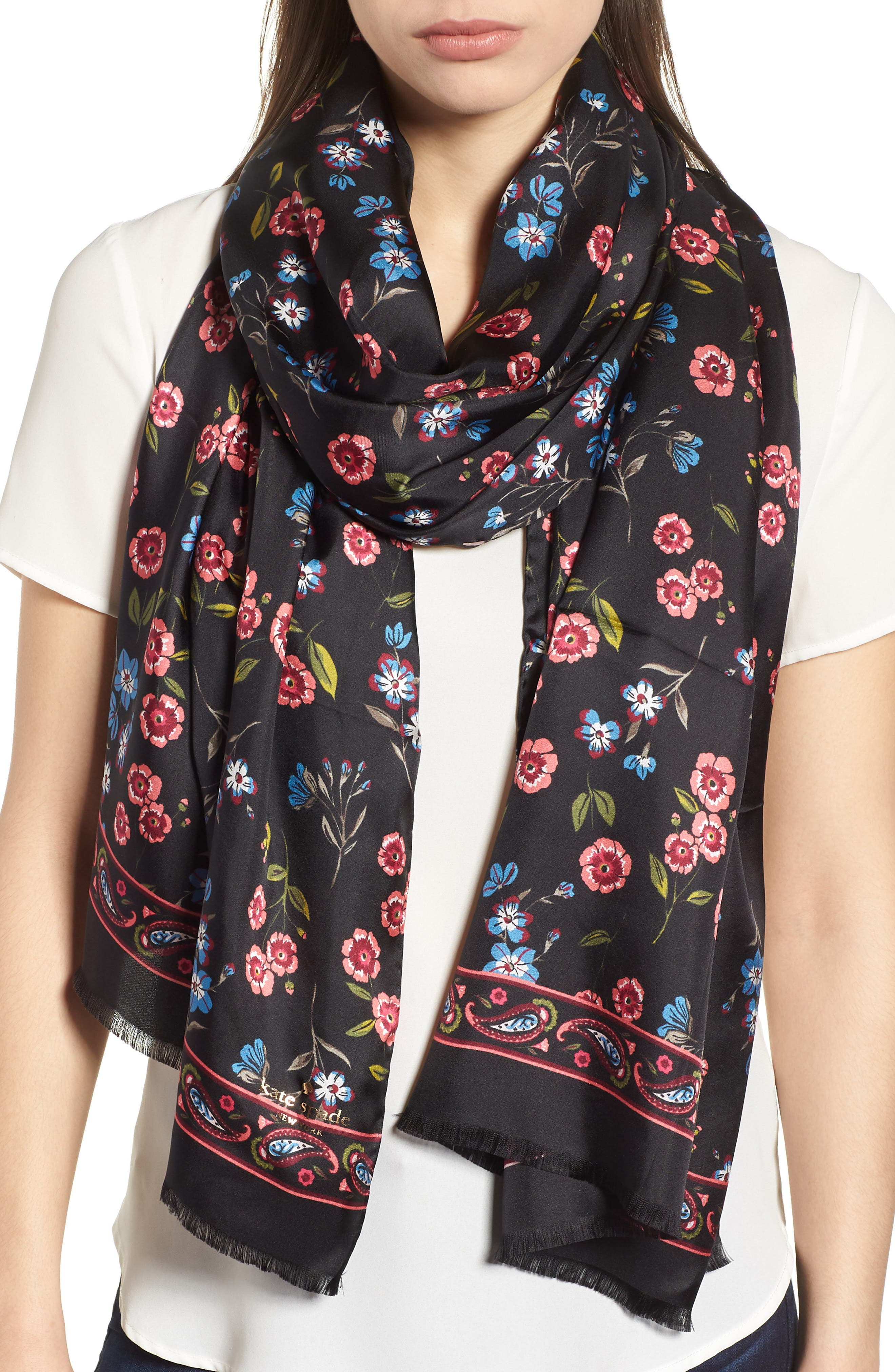 meadow silk oblong scarf,                             Main thumbnail 1, color,                             BLACK