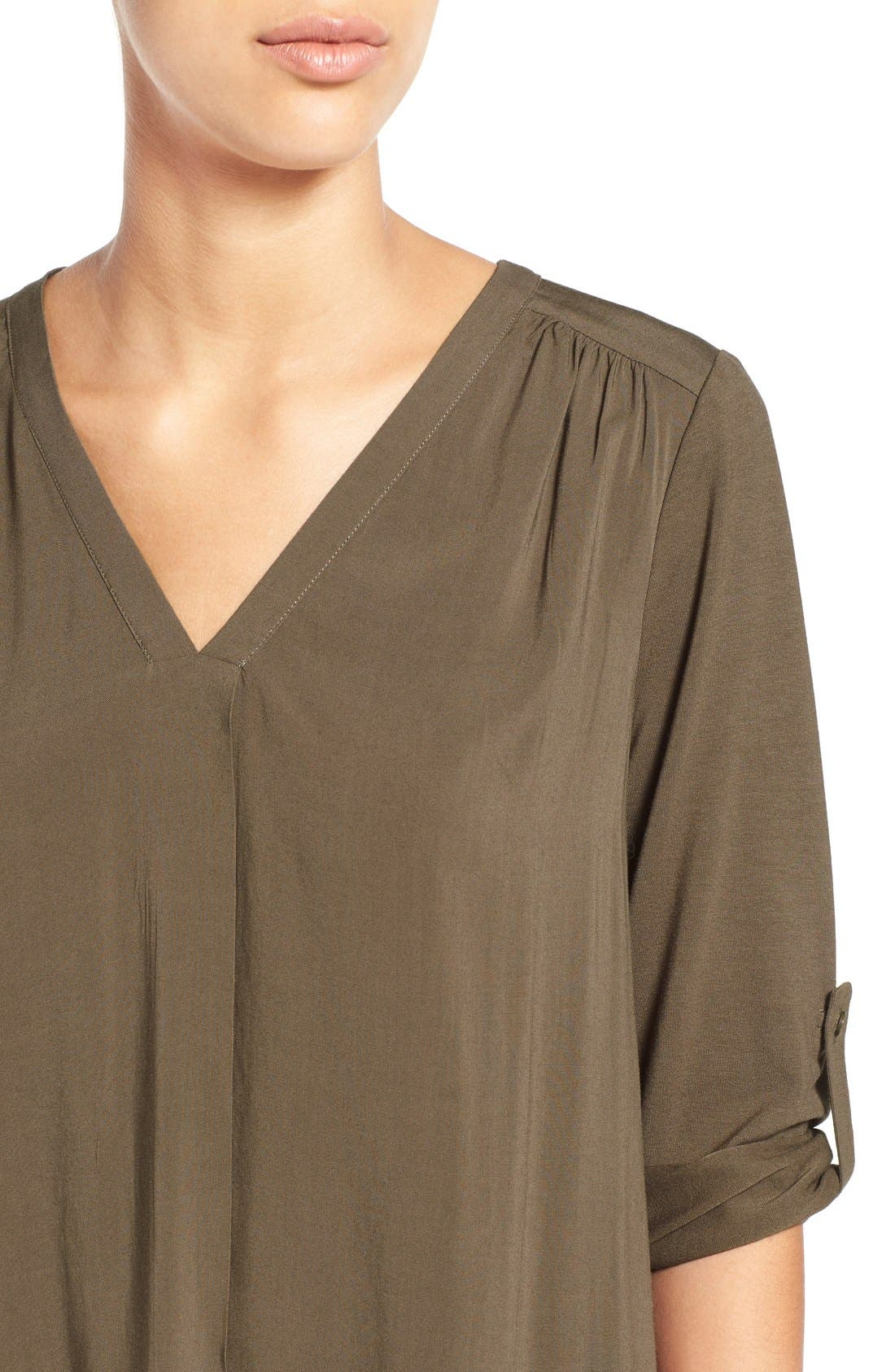 Mixed Media V-Neck Tunic,                             Alternate thumbnail 43, color,