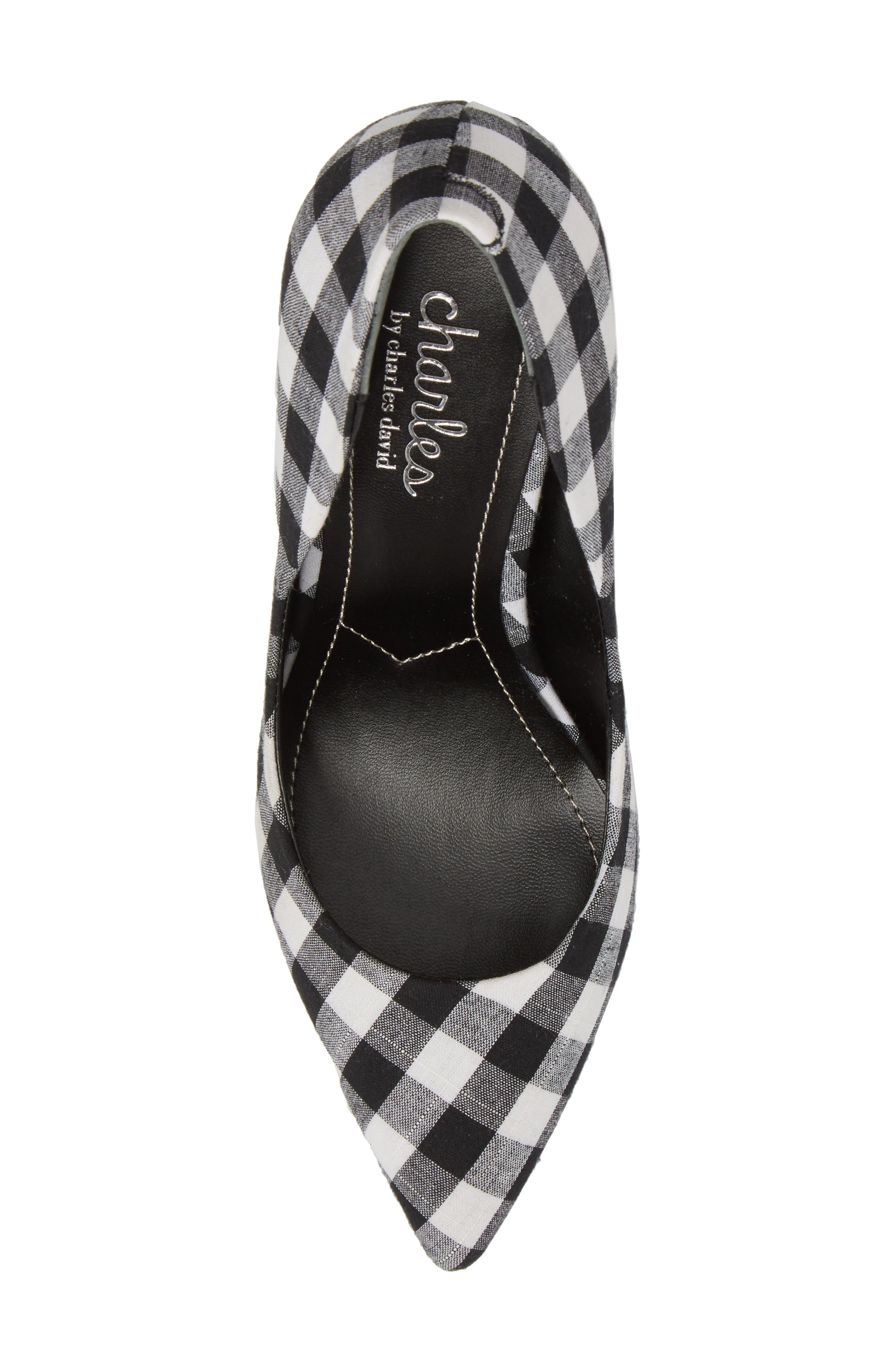 Maxx Pointy Toe Pump,                             Alternate thumbnail 5, color,                             BLACK/ WHITE GINGHAM FABRIC