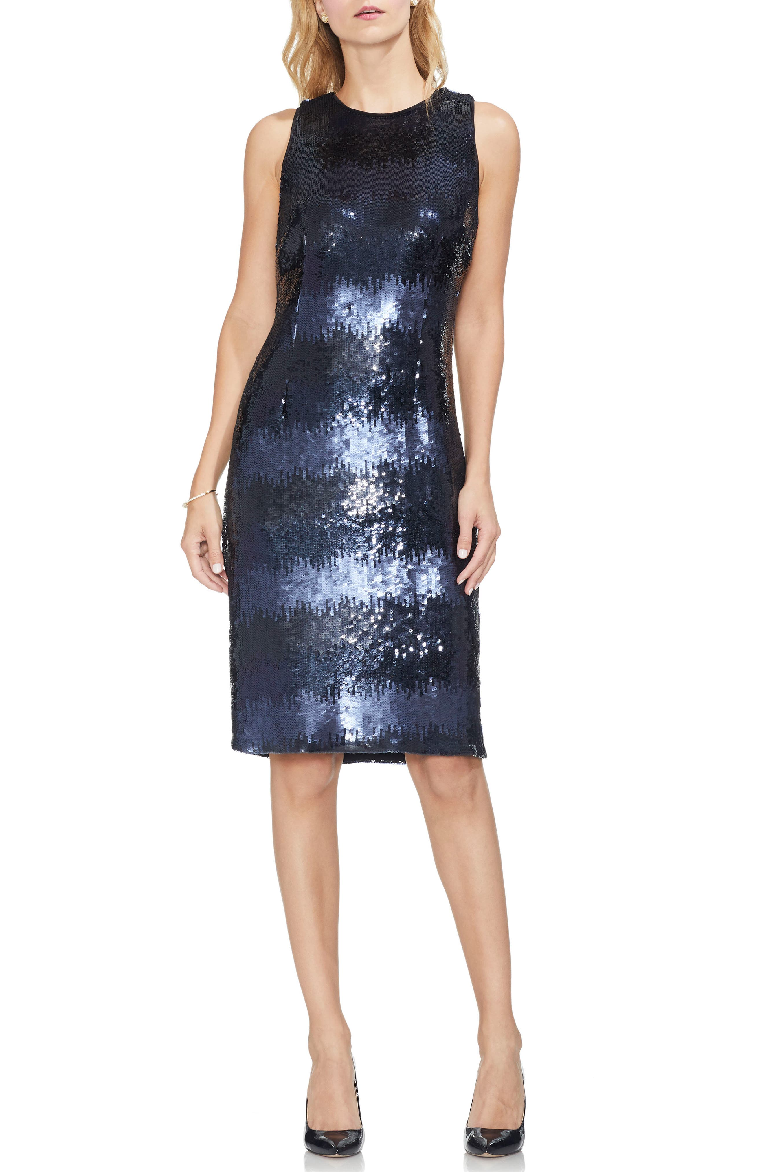 Vince Camuto Ombre Sequin Sheath Dress, Blue